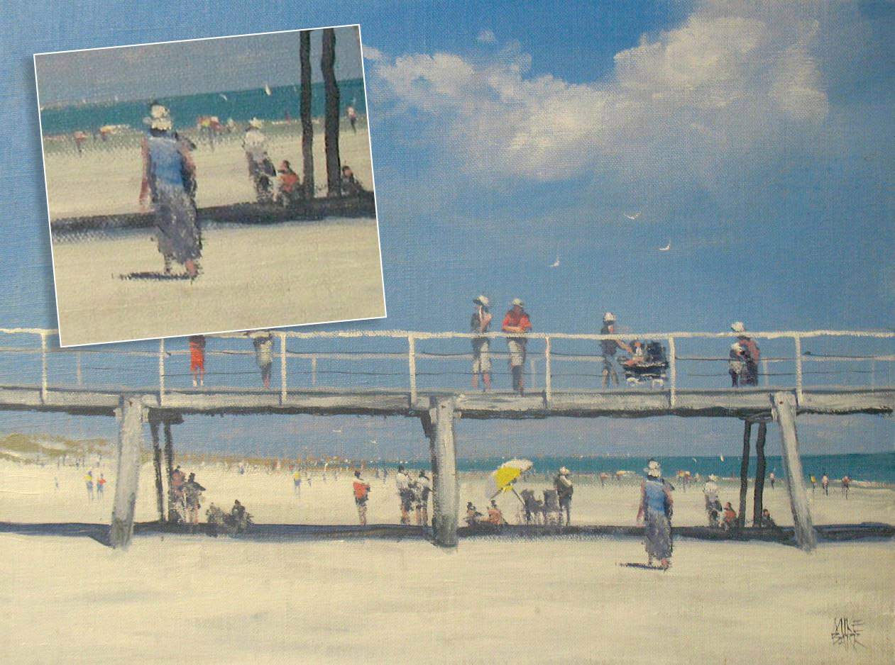 This painting of Semaphore jetty could easily be cropped into several other paintings, although I was happy with the full painting! Acrylic on canvas about 10 years ago.