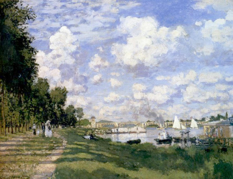 The Marina at Argenteuil - Monet. I painted a large version of this for myself when I first started. I learned about the colour of shadows, aerial perspective and the simplicity of painting figures. Things that have stayed with me ever since.