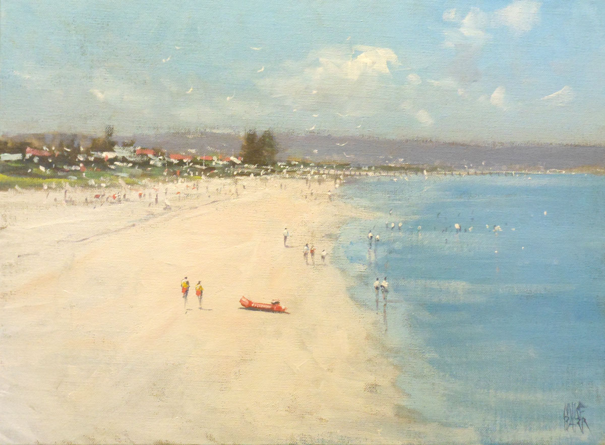 The impressions of a sunny day looking from the Grange Jetty toward Henley Beach.  Acrylic on canvas.