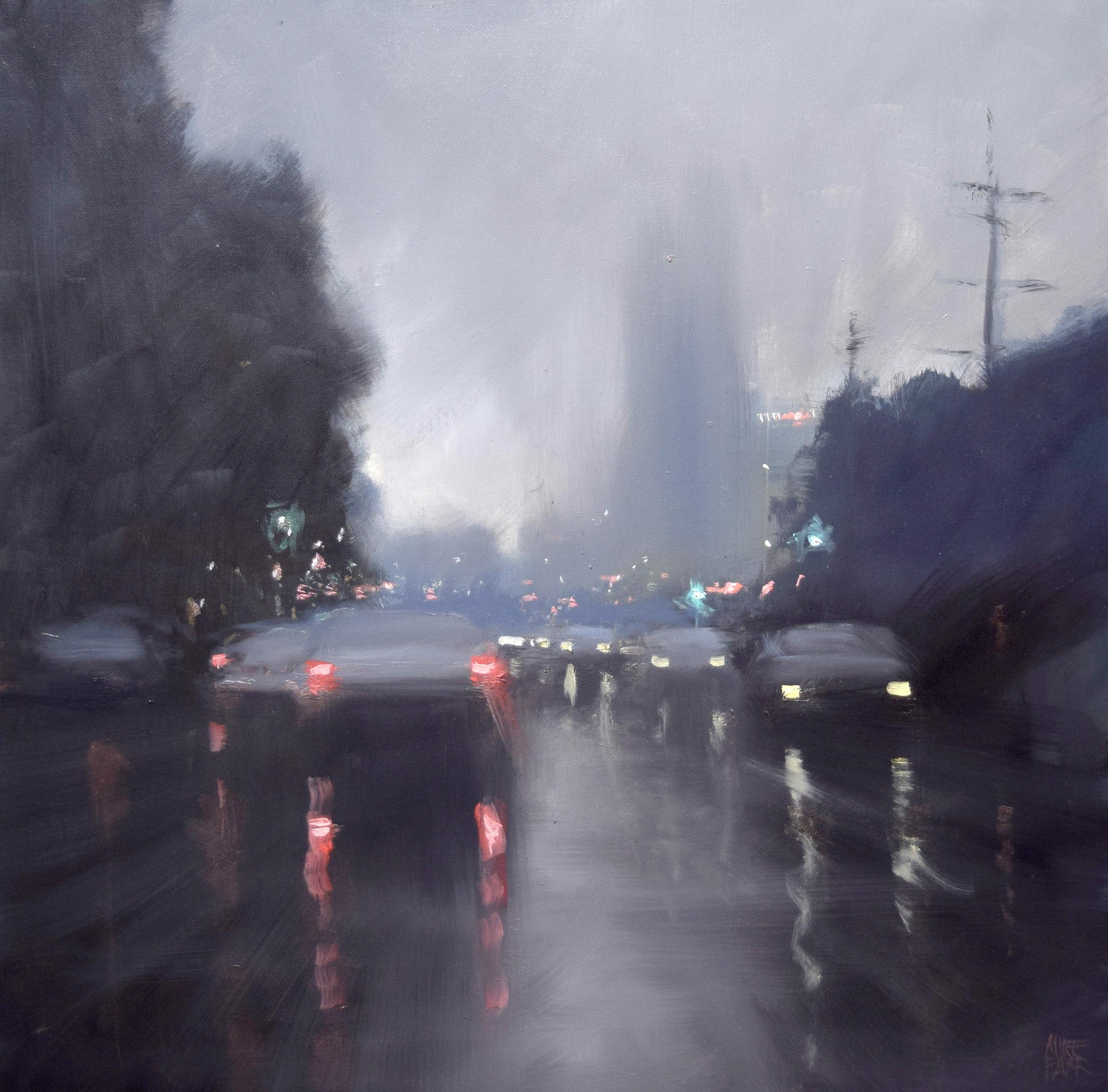 Home Town Rain.  Acrylic on canvas.