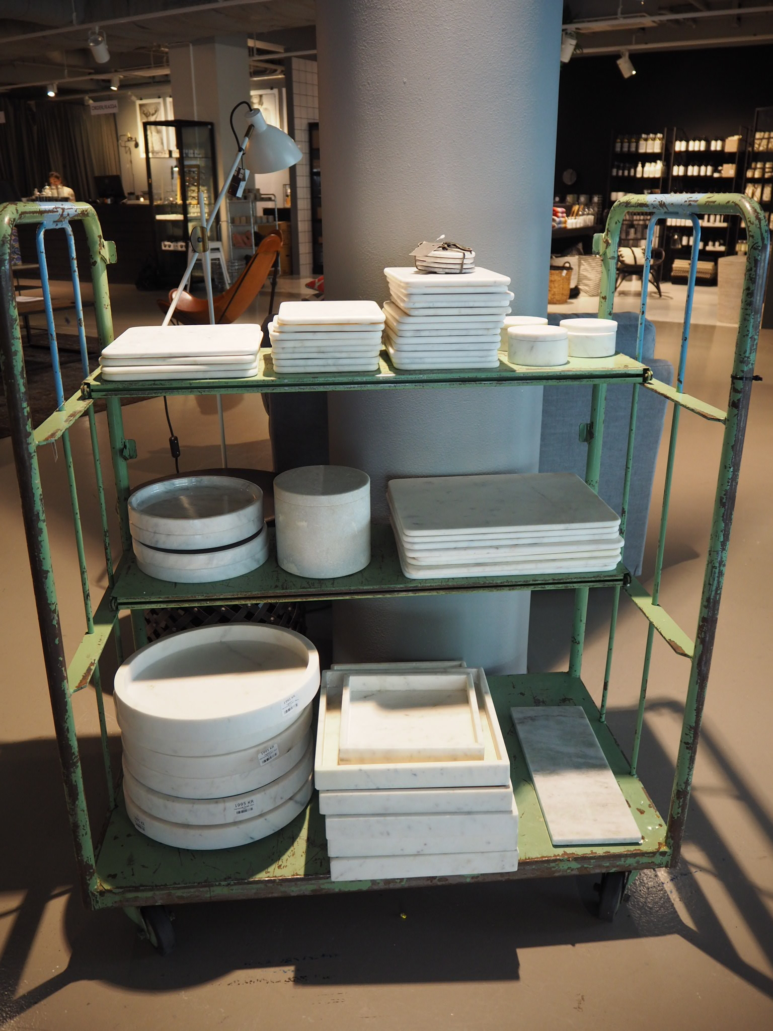 Marble Tray galore at Swedish homeware brand - Posh Living, Stockholm.