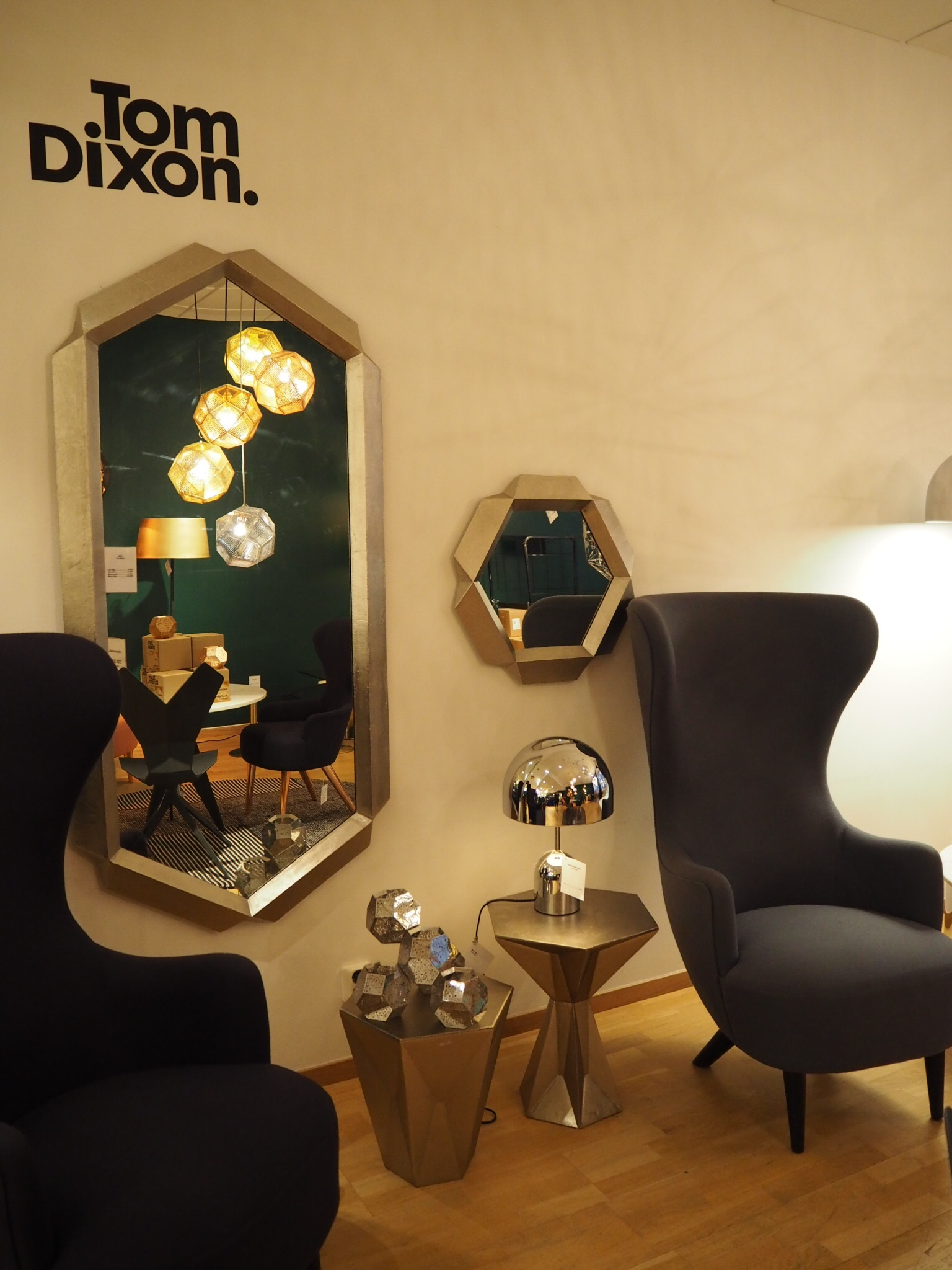 Tom Dixon lights and accessories at NK, Stockholm.