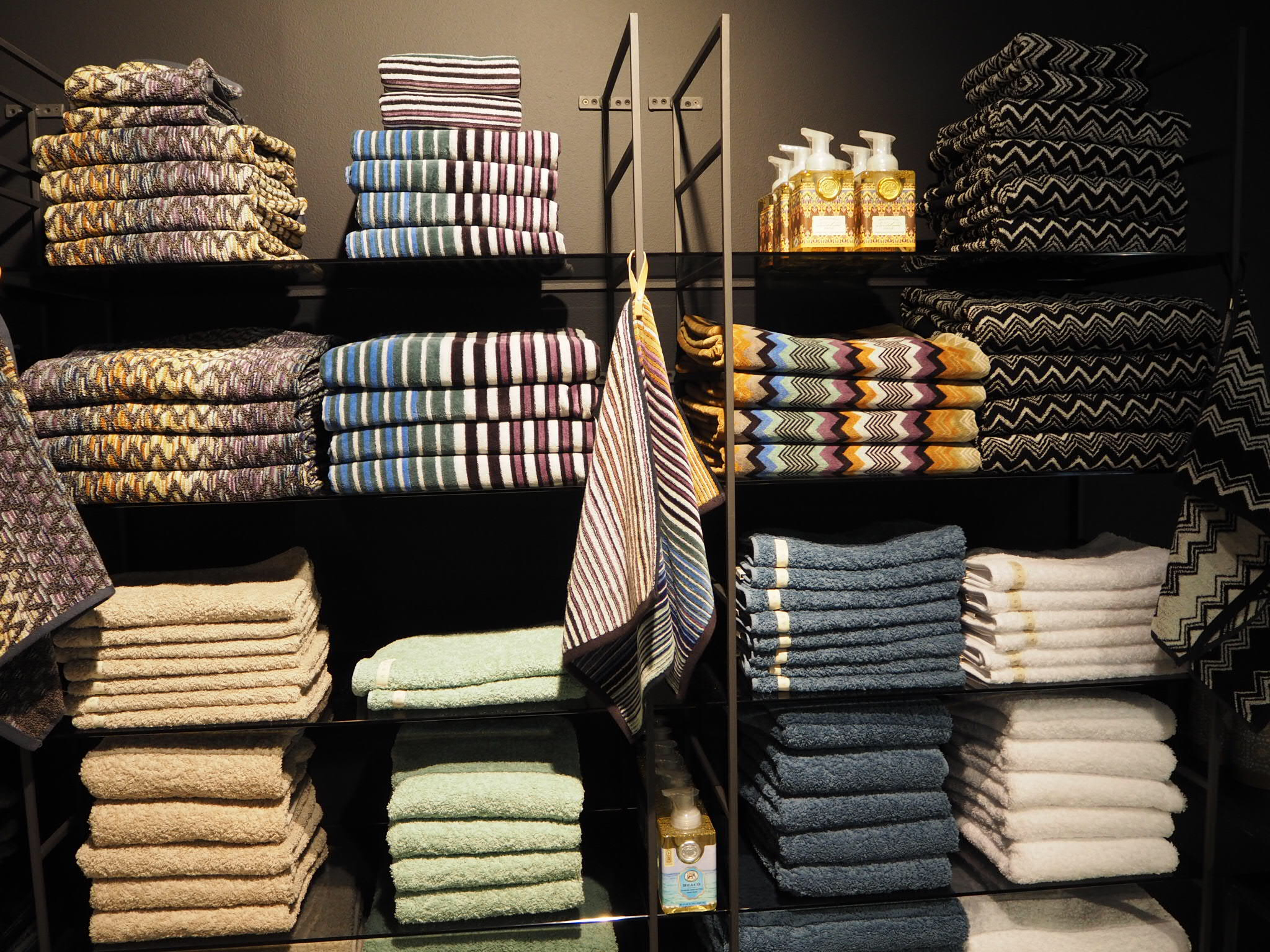 Fancy towels at Poshing living, Stockholm. Interiors/ homeware brand.