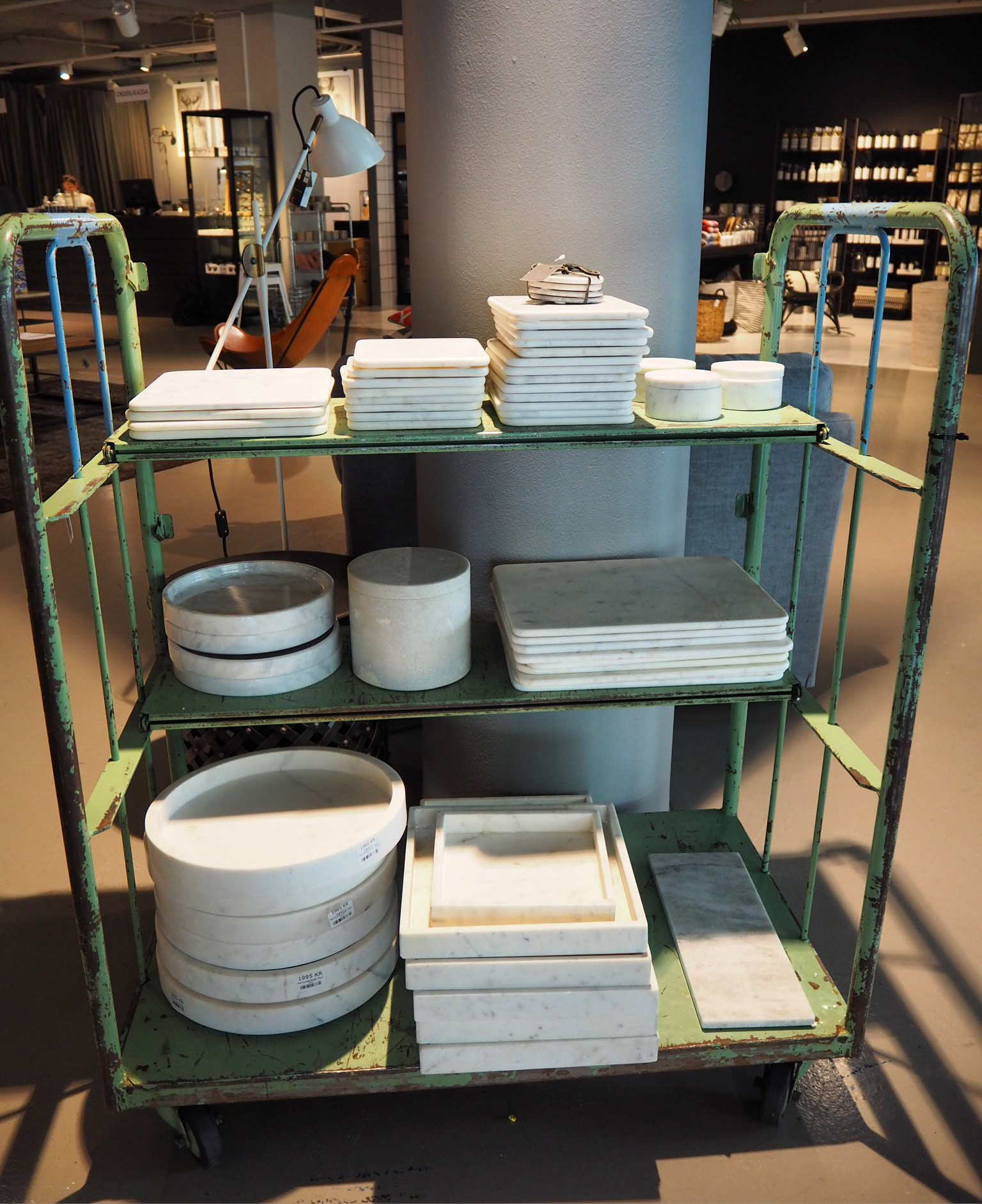 Marble trays at Posh Living, Stockholm.