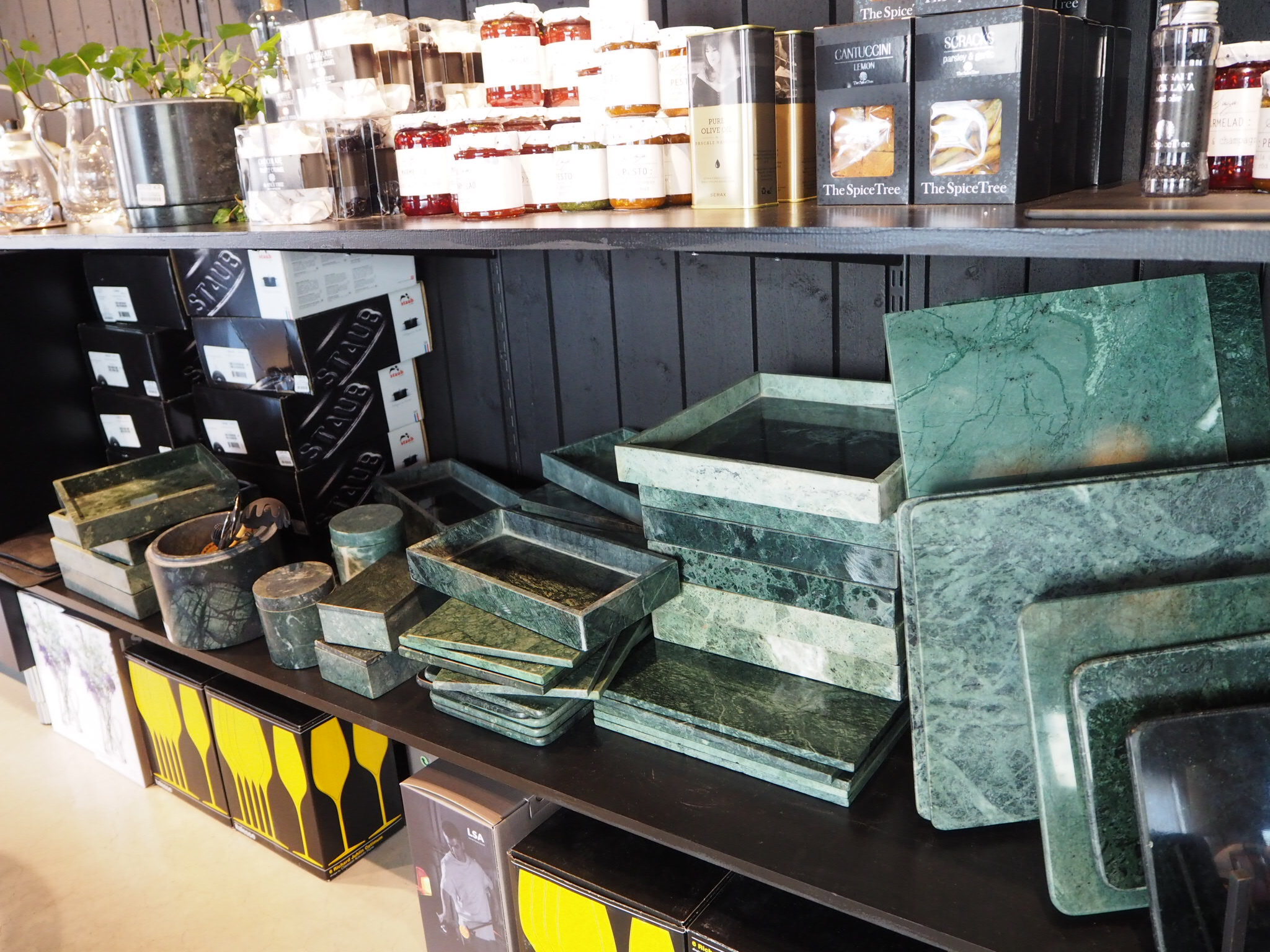 Italian green Trays at Posh Living, Stockholm.