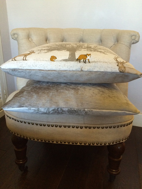 woodland themed cushions- on etsy £15 each