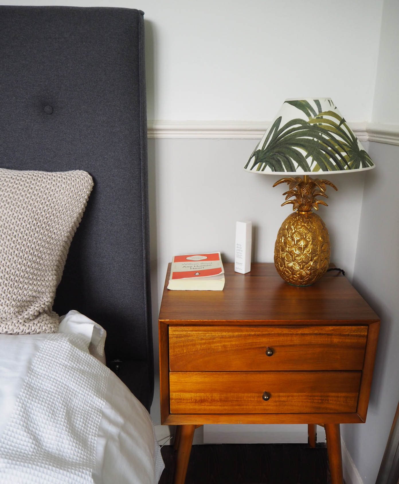 West elm side table with house of hackney lamp, and made.com bed