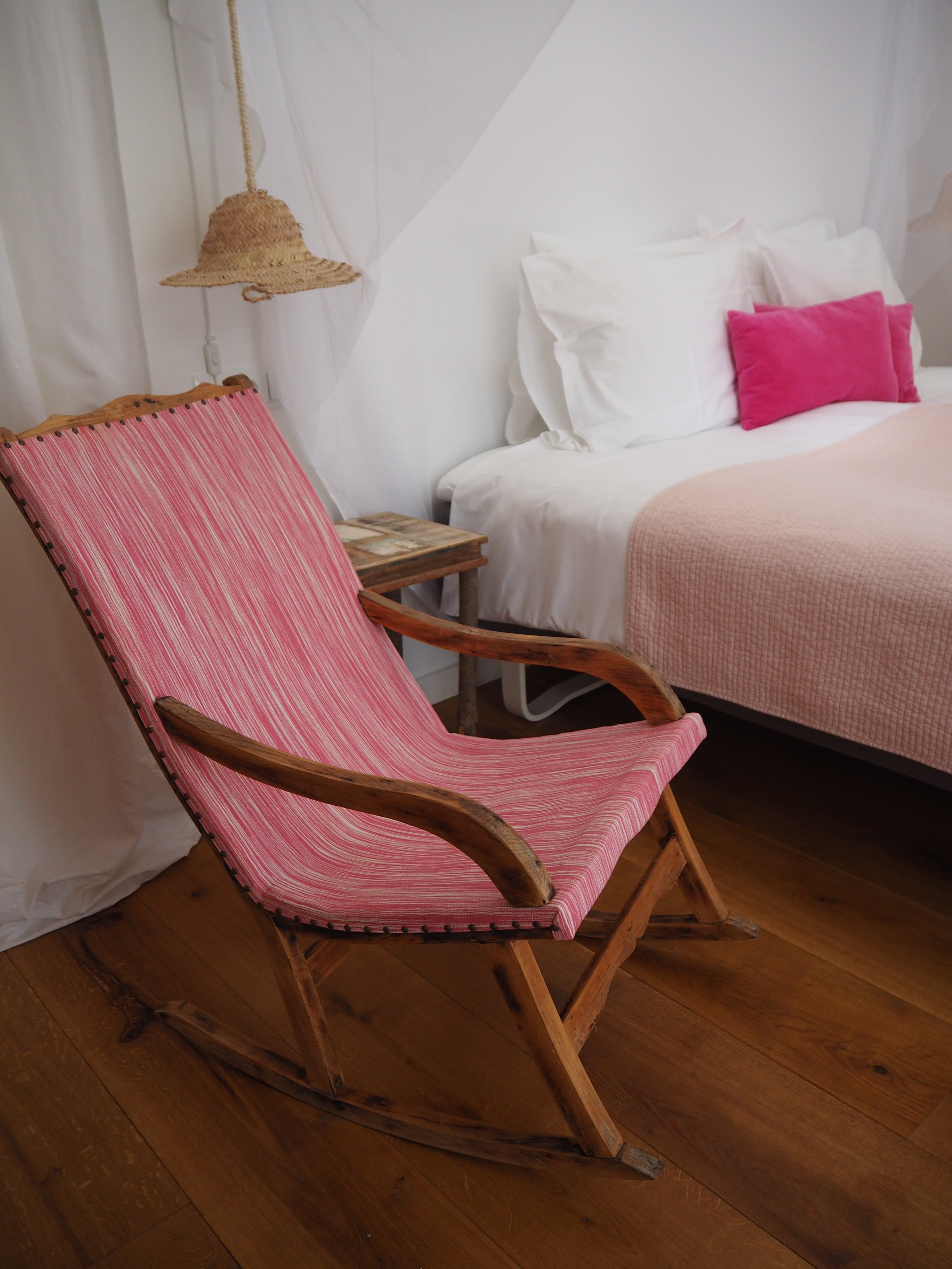 One of the bedrooms at The pink Pepper Tree Hotel- Lloseta, Majoraca. A traditional Majorcan finca.