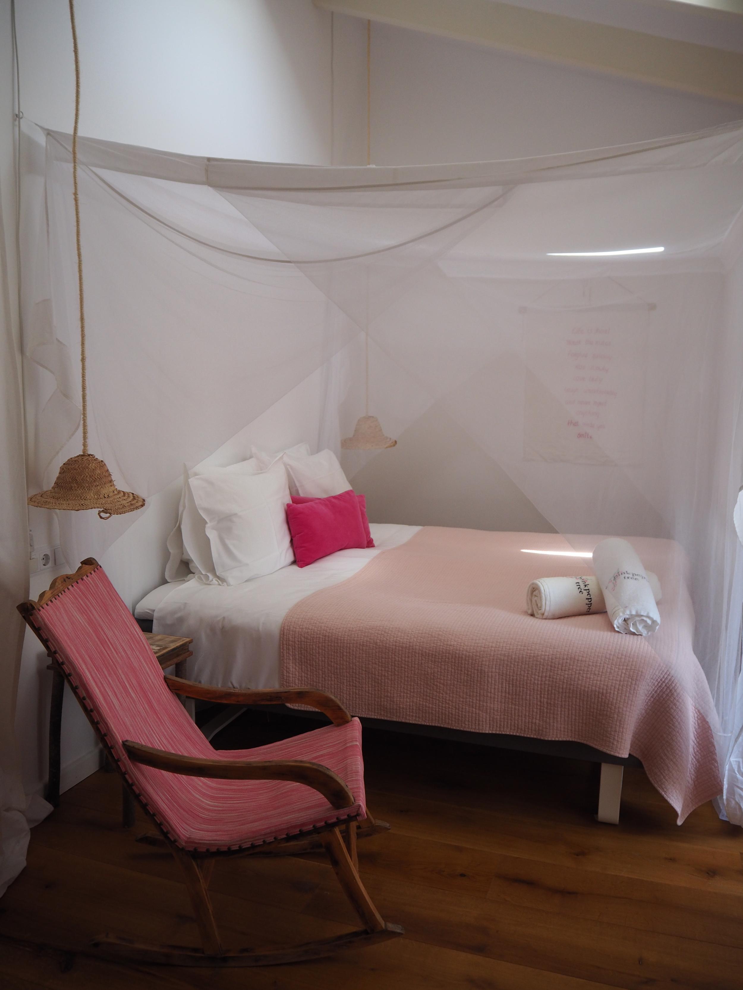 Mosquito nets at The pink Pepper Tree Hotel- Lloseta, Majoraca. A traditional Majorcan finca.