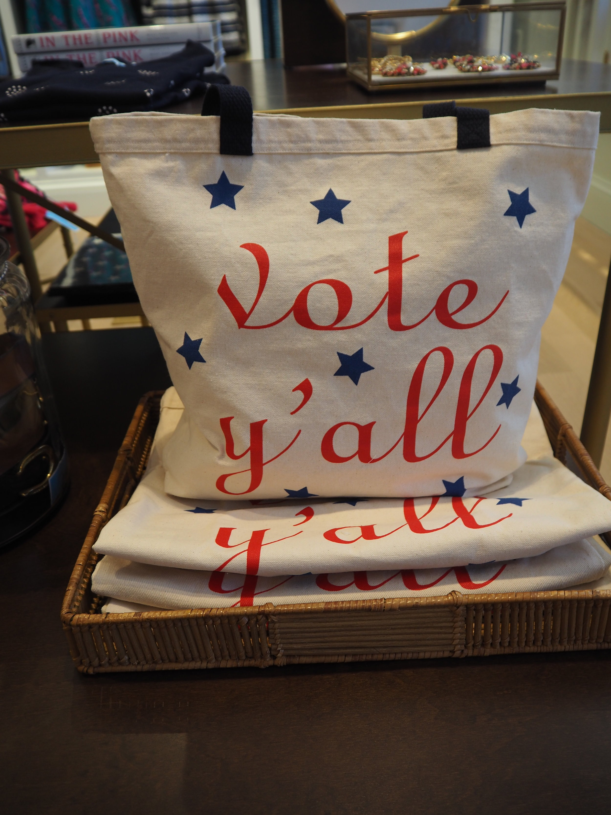 Vote Y'all tote bags at Draper James. A new southern lifestyle brand by Reese Witherspoon. Click here to read more.
