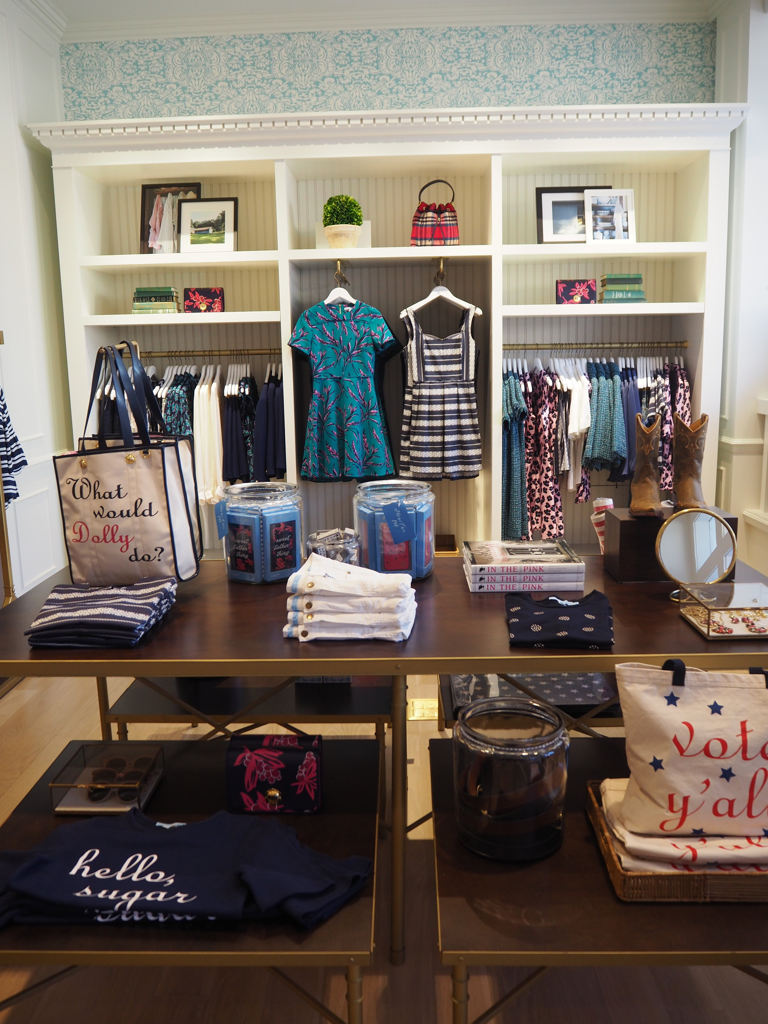 Ladies clothing at the Draper James store in Nashville Tenessee. Kitsch lifestyle brand by Reese Witherspoon. Click here for more info.