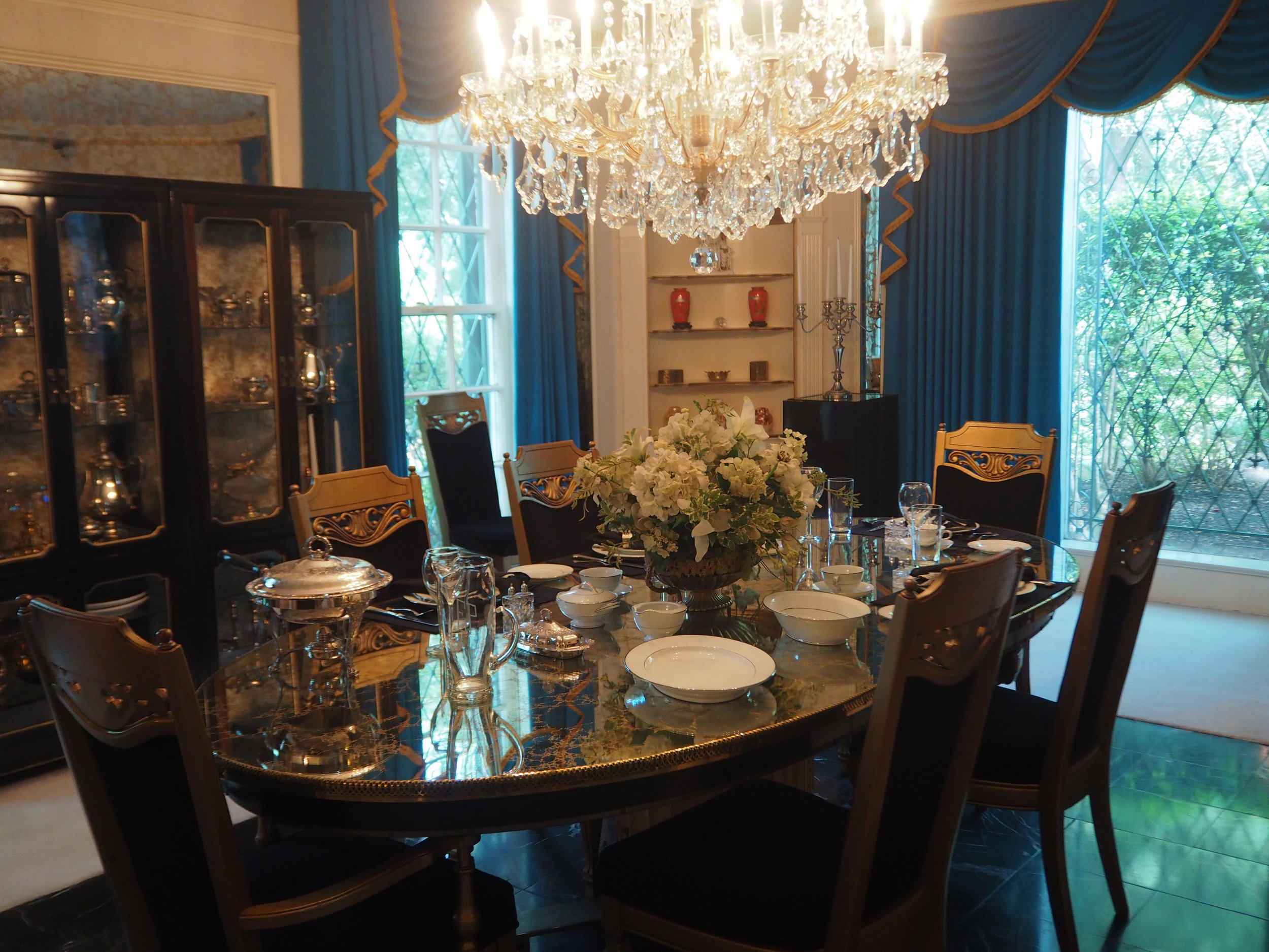 The grand dining room inside Elvis Presley's Graceland. To see more pics, click on the photo.