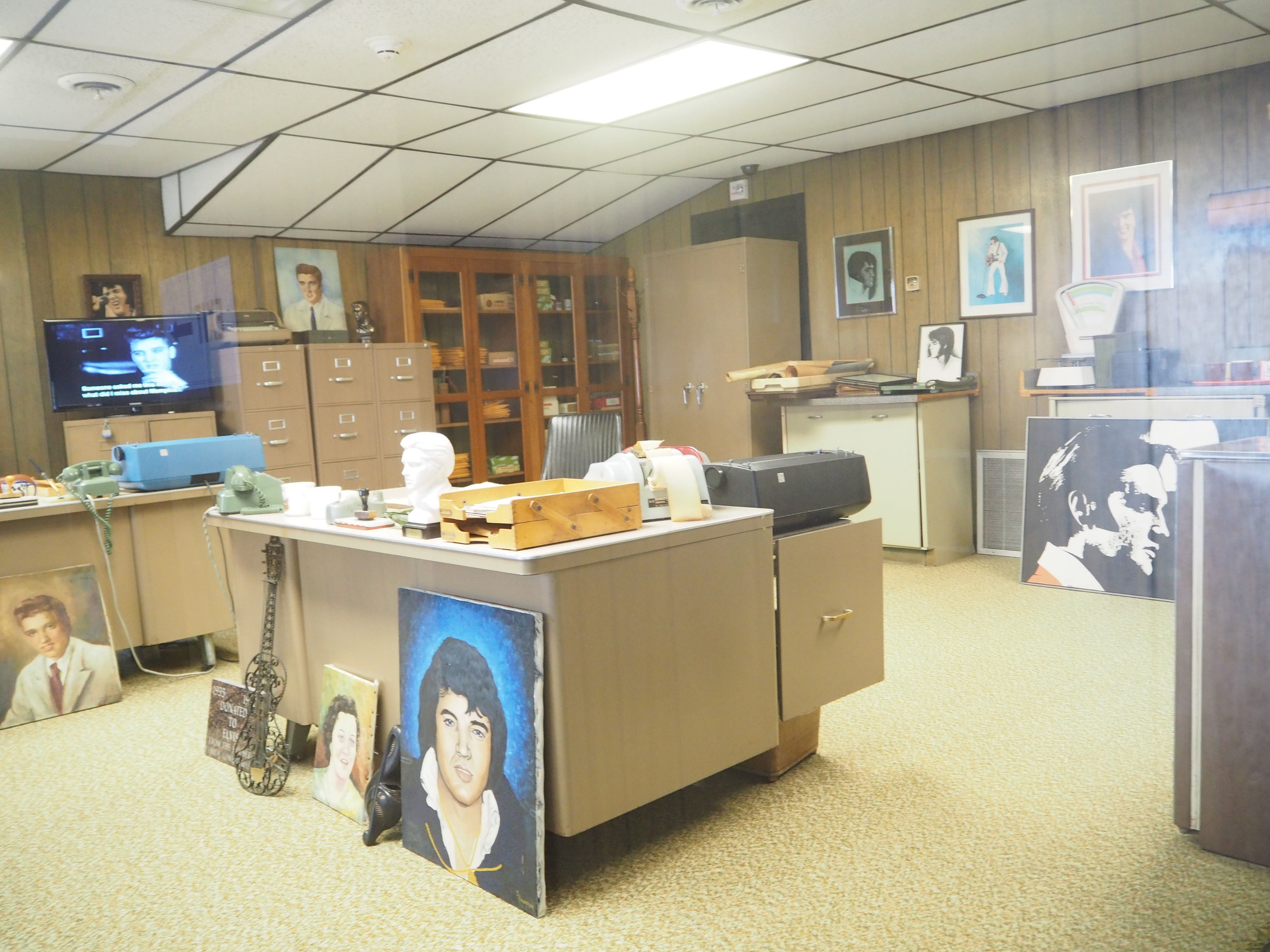 Elvis Presley | Graceland. Vernon's office out the back, filled with paintings, fan mail and gifts from fans. Click for more photos.