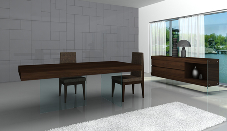 Floating dining table from J&M Furniture. Price on request.