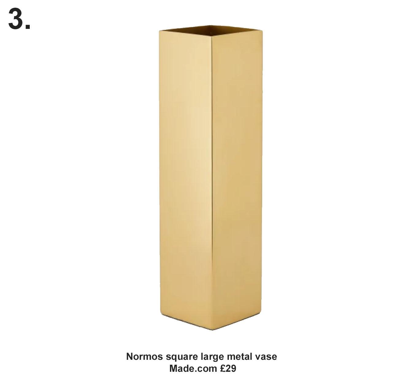 Normos square large metal vase- made.com £29