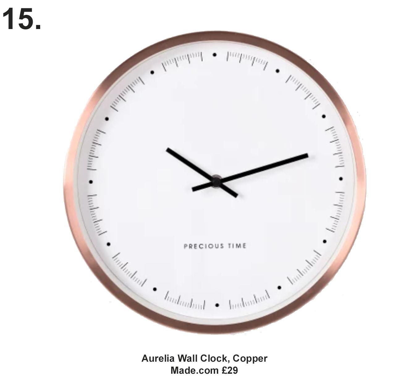 Aurelia Wall Clock, Copper. Made.com £29