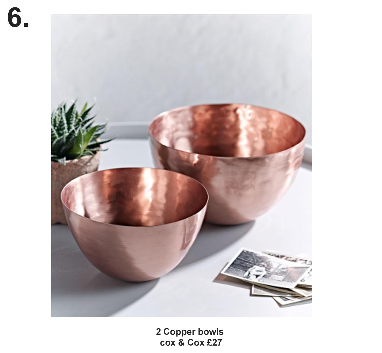 2 Copper bowls, cox & cox £27