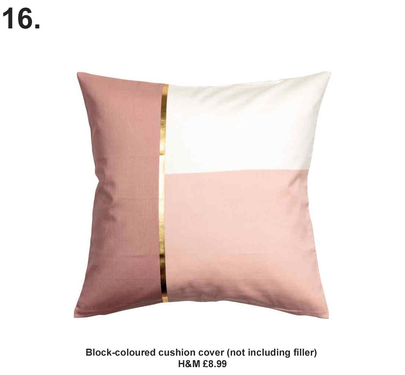 Block-coloured cushion cover. H&M £8.99