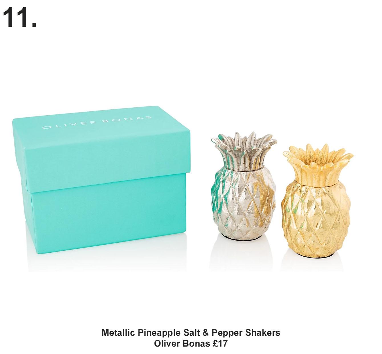 Metallic Pineapple Salt & Pepper Shakers, Oliver Bonas £17