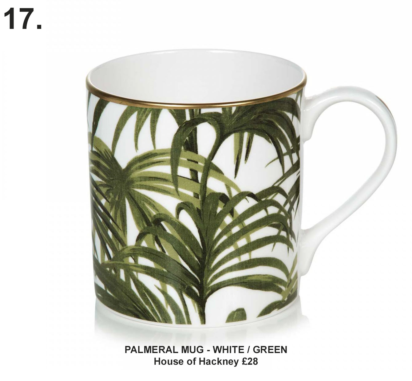 PALMERAL MUG - WHITE / GREEN, house of hackney £28