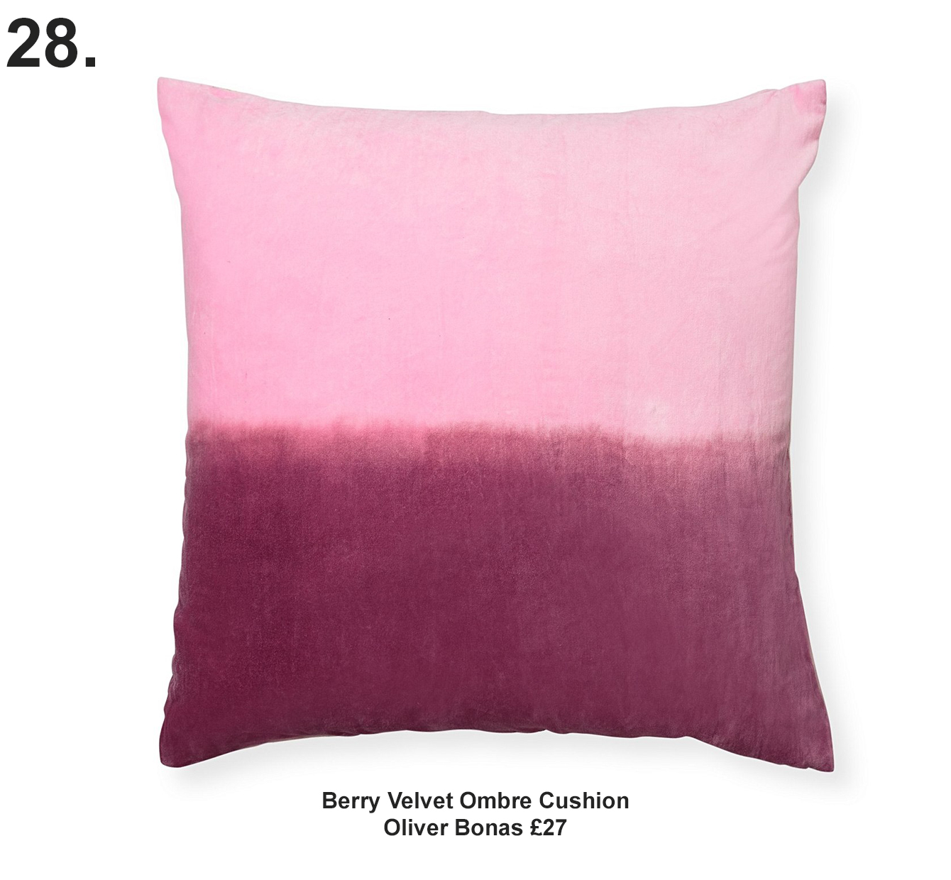 Berry Velvet Ombre Cushion £27 Oliver Bonas