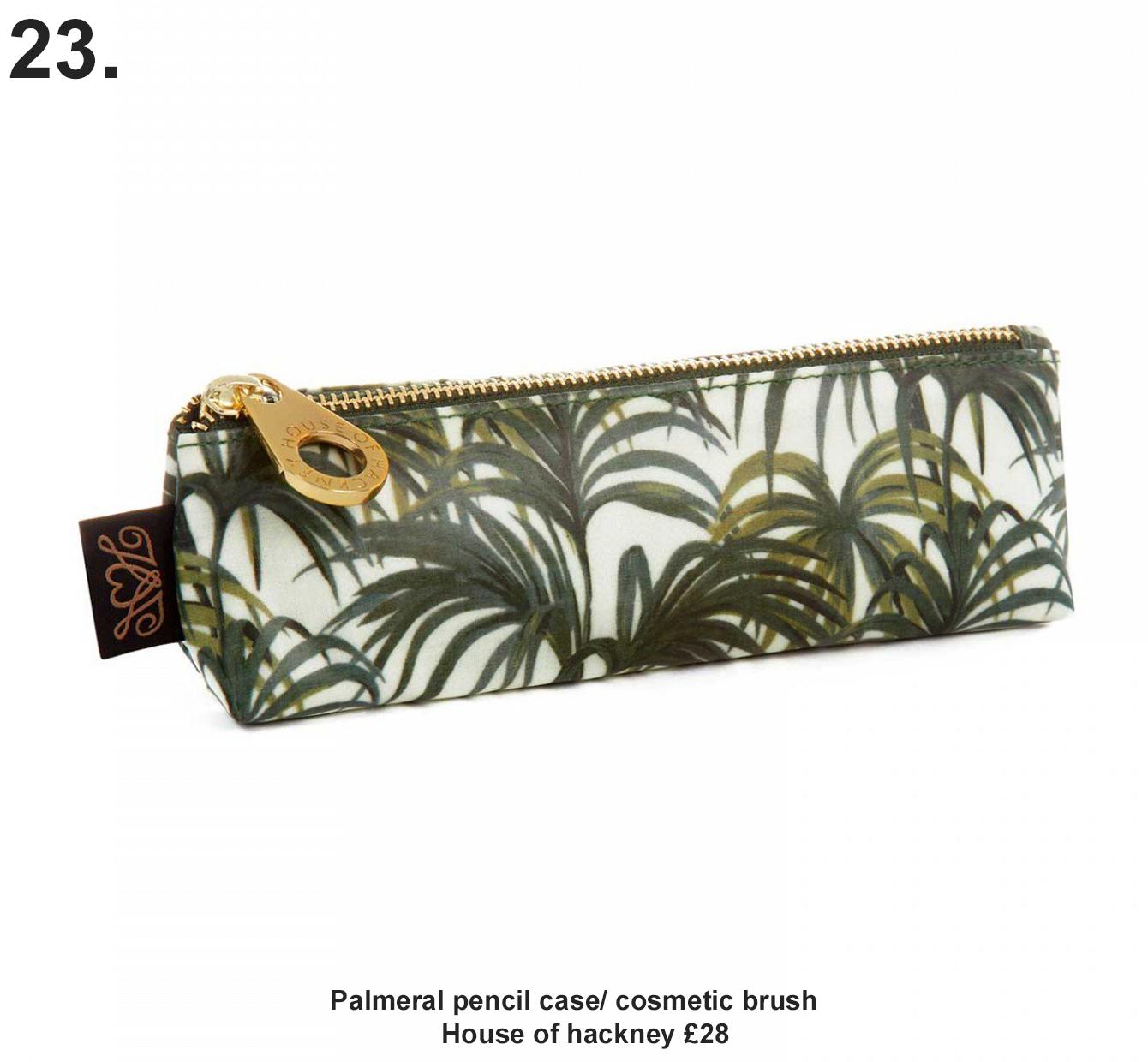 PALMERAL PENCIL CASE / COSMETIC BRUSH CASE - WHITE / GREEN £28