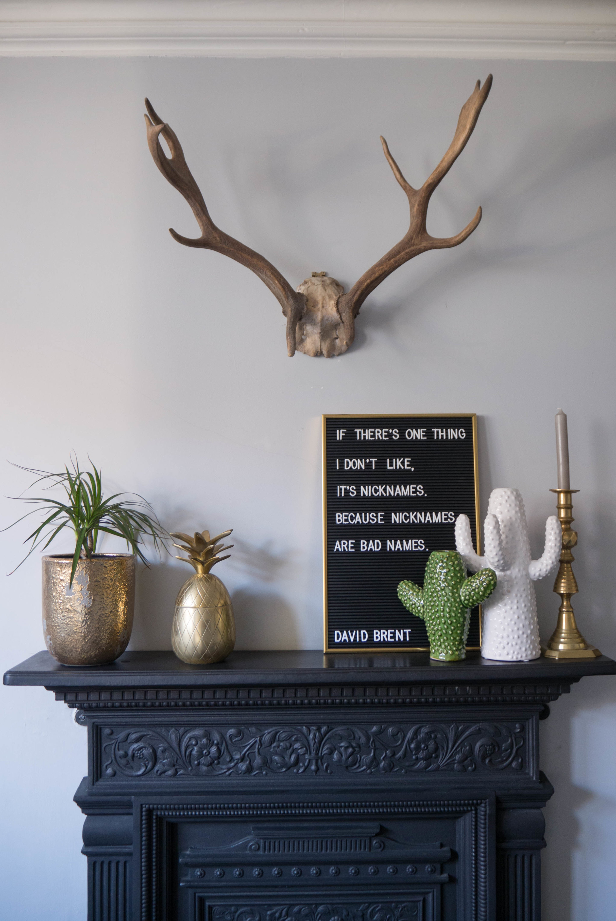My fireplace mantle including house plants, cacti vases and message board.