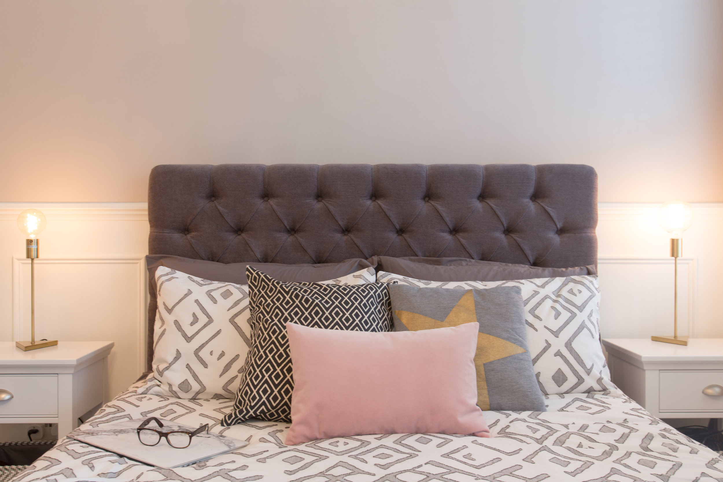 Geo printed bedding and cushions.