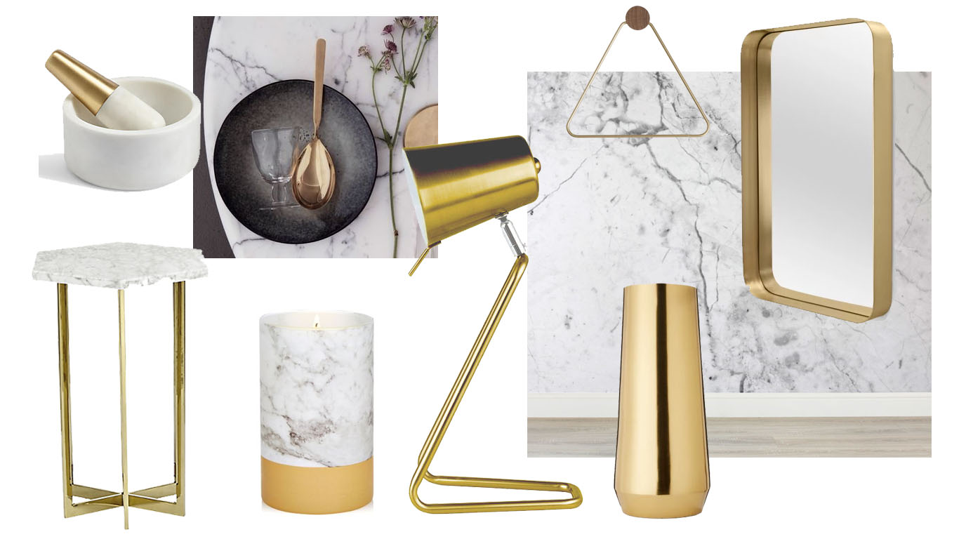Key Interior trends for 2017: Marble & Brass.  A moodboard showing how you can incorporate a little Marble and brass into every day homes.