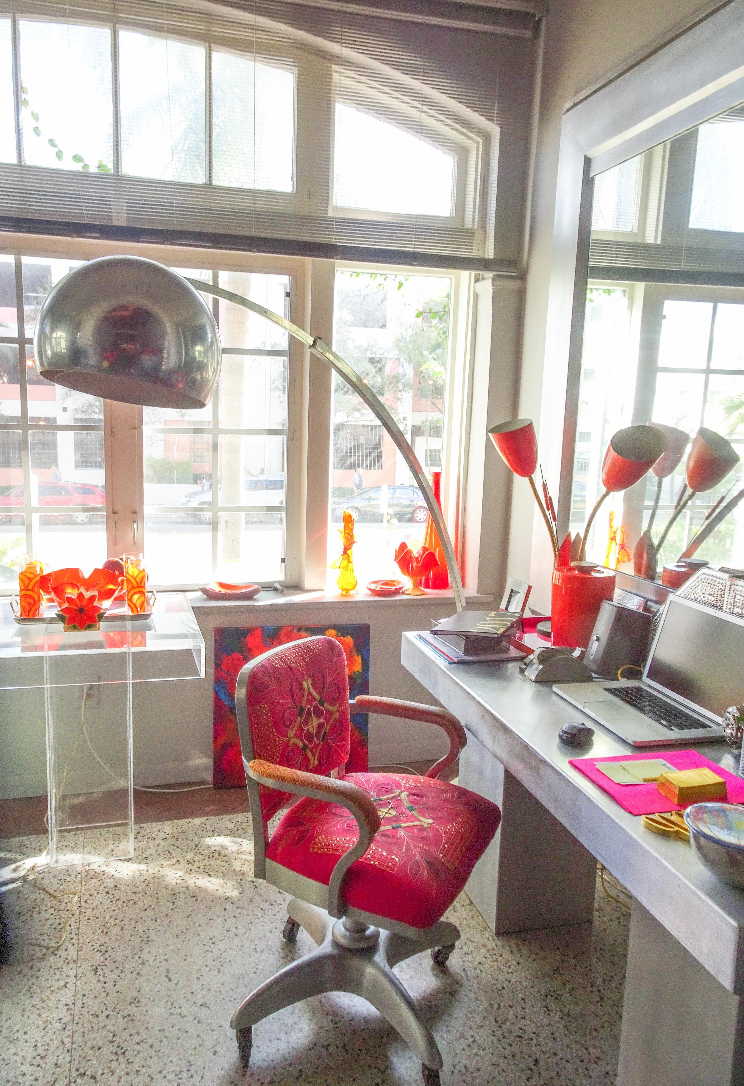 An Asian futuristic twist to Barbara's home studio.