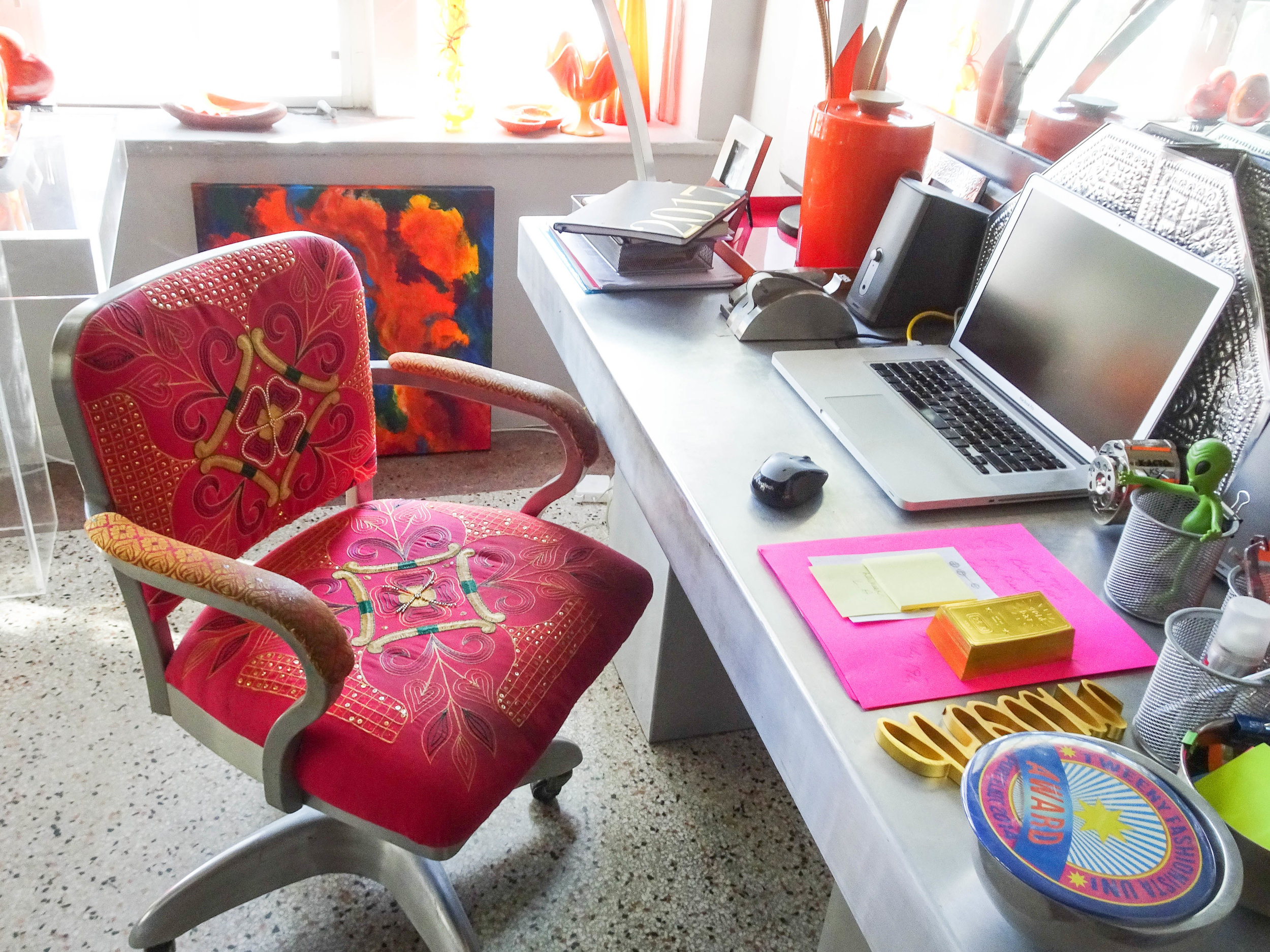 Barbara's steel desk with asian inspired upholstered office chair.
