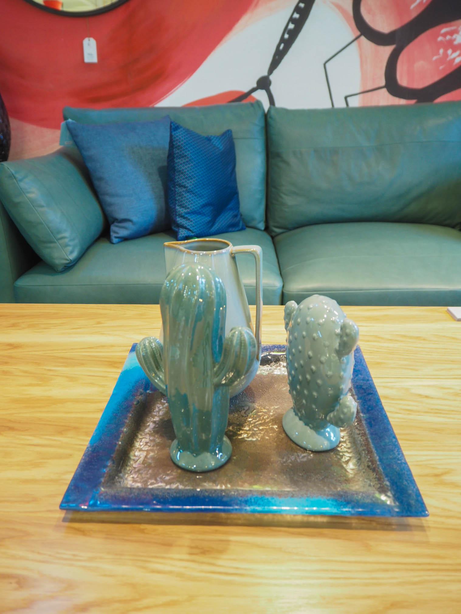 Cactus vases at trendy homeware store Forum Designu in Krakow, Poland.