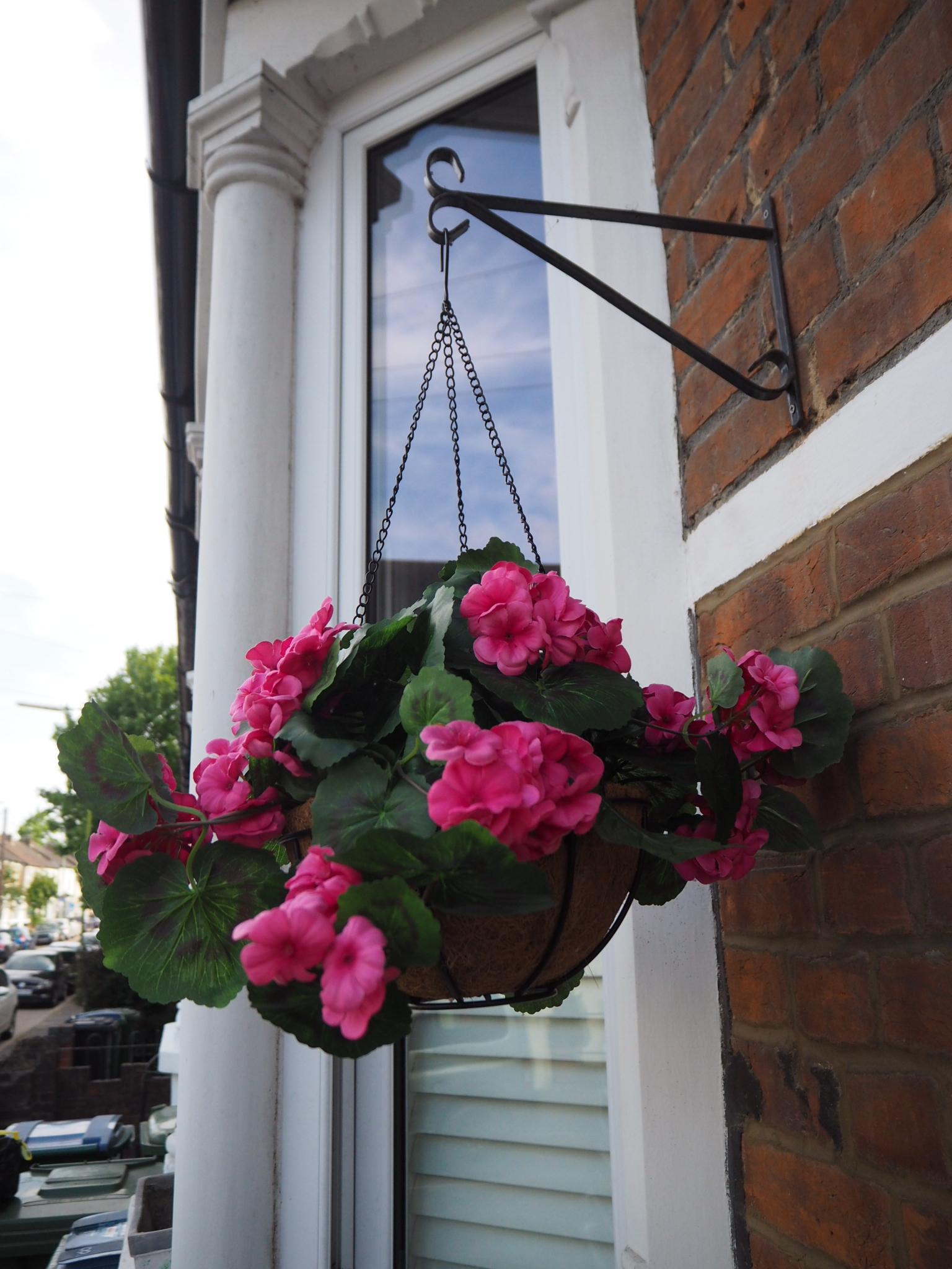 Faux flower hanging basket at Homesense.