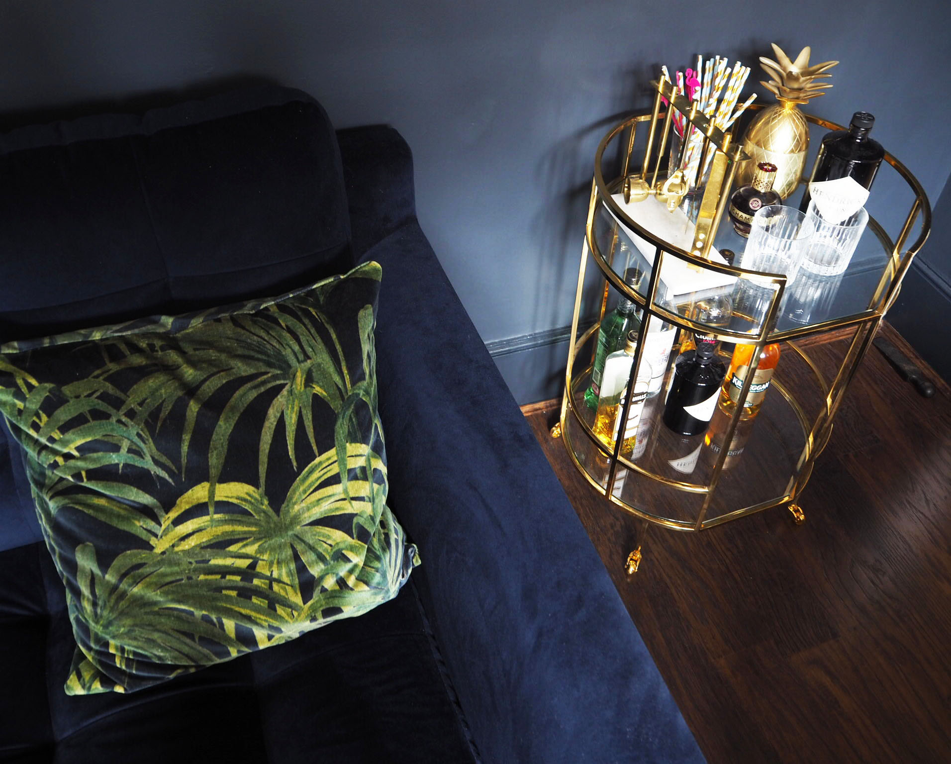 Barclay bar cart/ drinks trolley from Marks & Spencer with House of hackney palmeral cushions