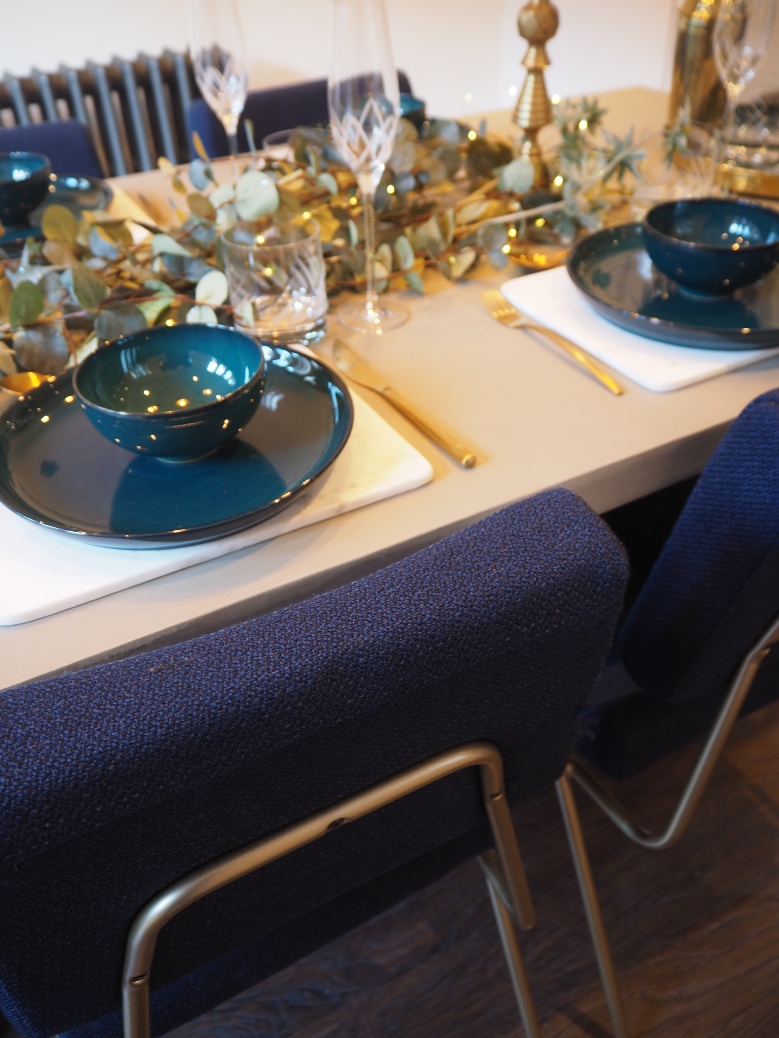 Denby Greenwich tableware and West Elm concrete table and wire frame dining chair