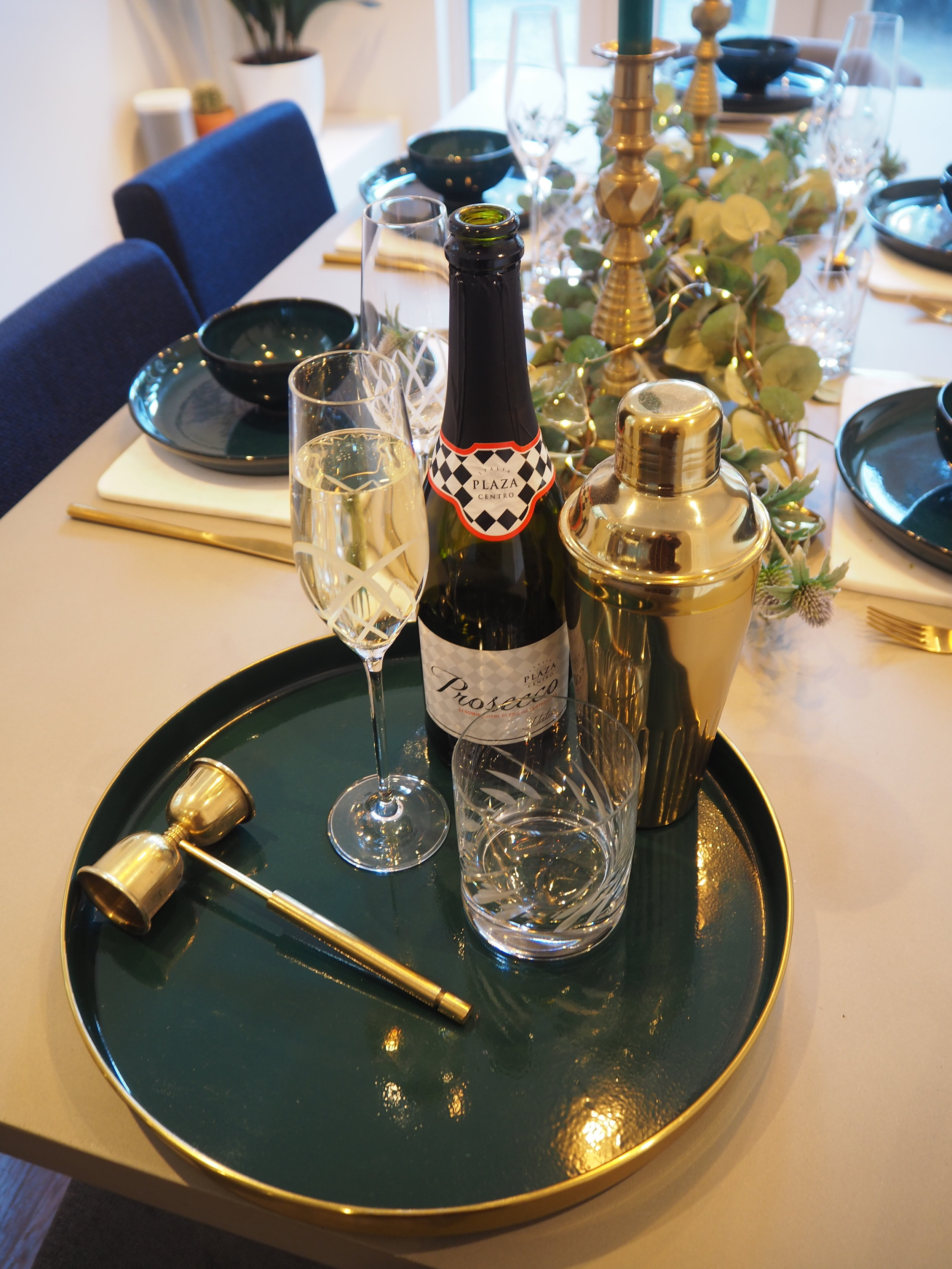 Sainsburys home tray with Denby crystal glasses