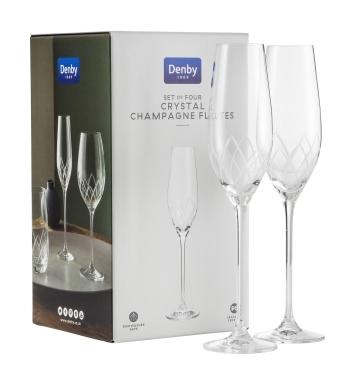 DENBY Lotus Leadless Crystal Champagne Flutes Set of 4 £48.00