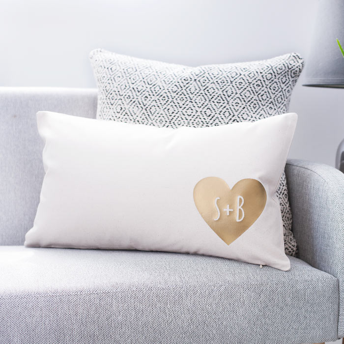 Personalised Couples Heart Cushion £20