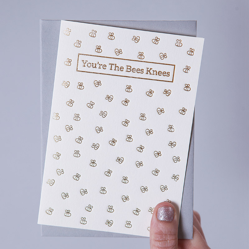 Hand Pressed Bees Knees Card £3