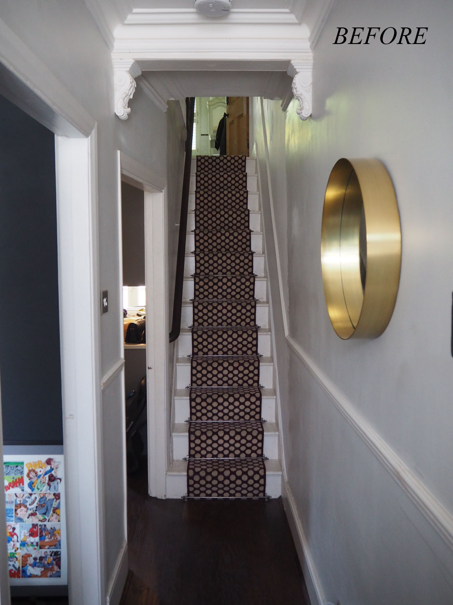 Before shot of the entrance hallway.