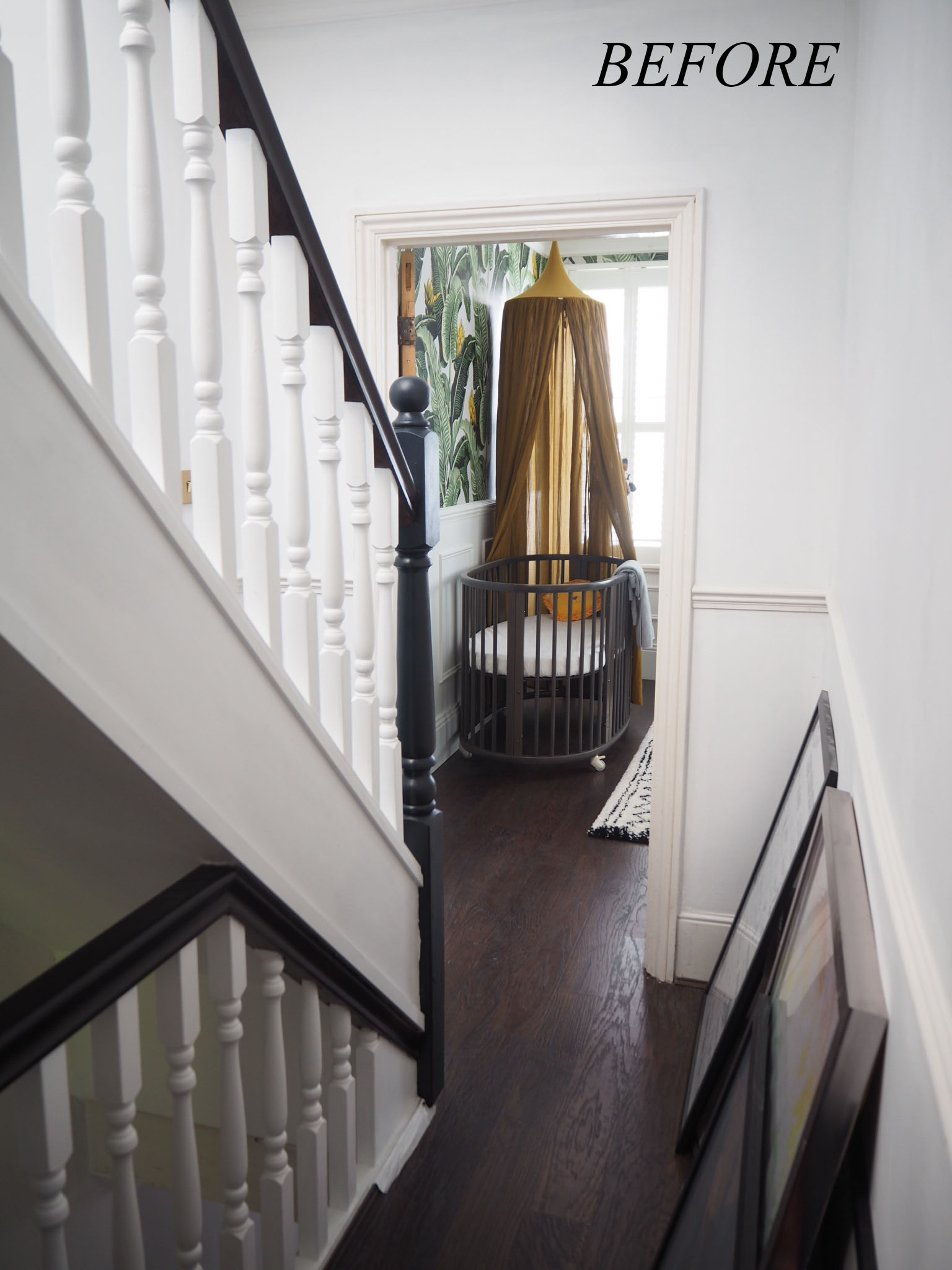 A before shot of the first floor landing.