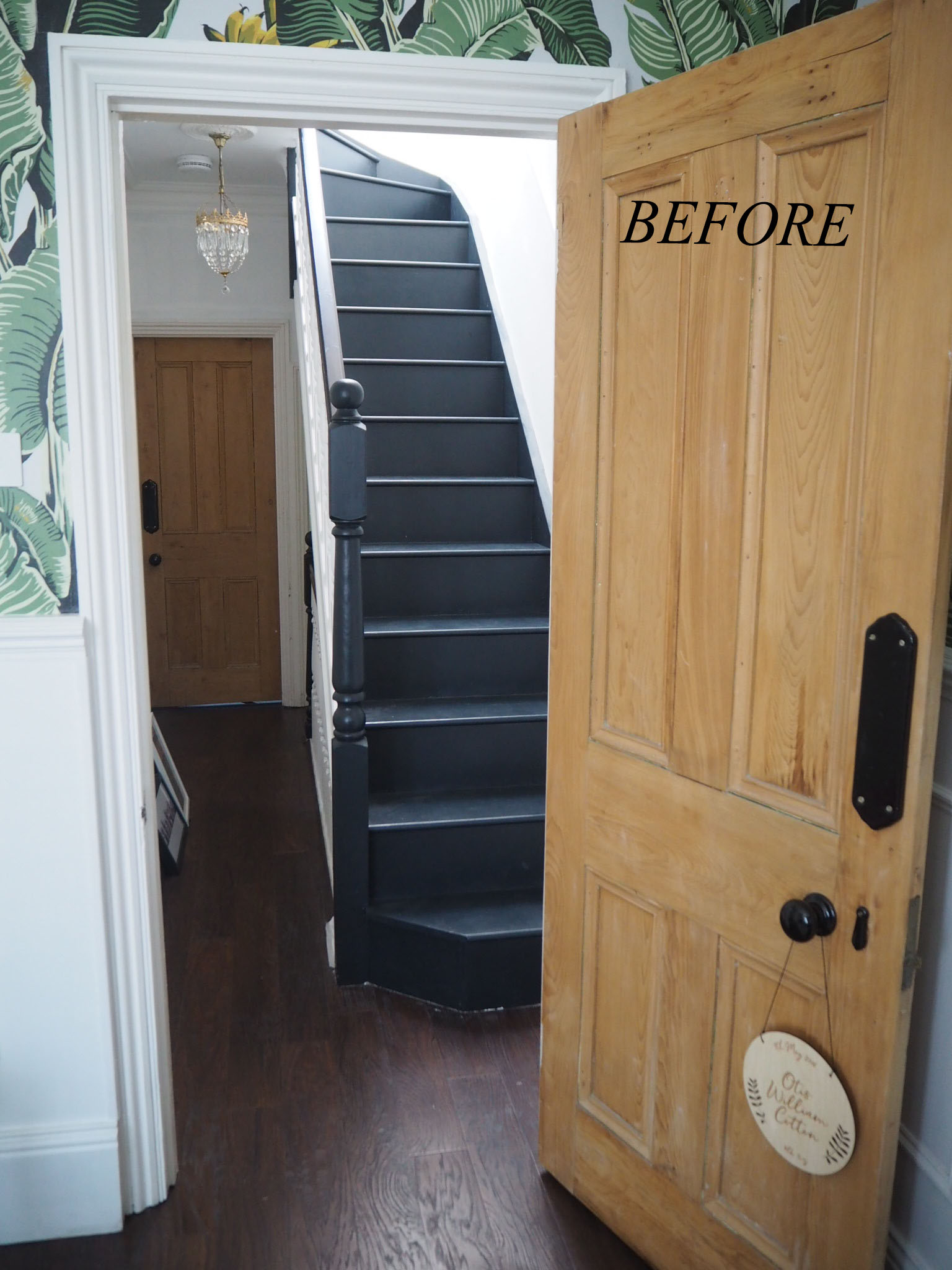 The second set of stairs leading to the loft bedrooms.