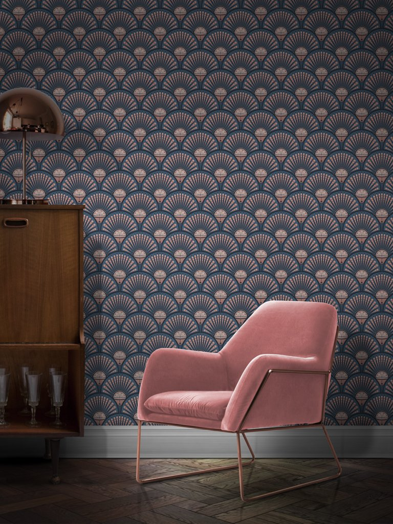 Divine Savages - Deco martini blush wallpaper - £140 per roll