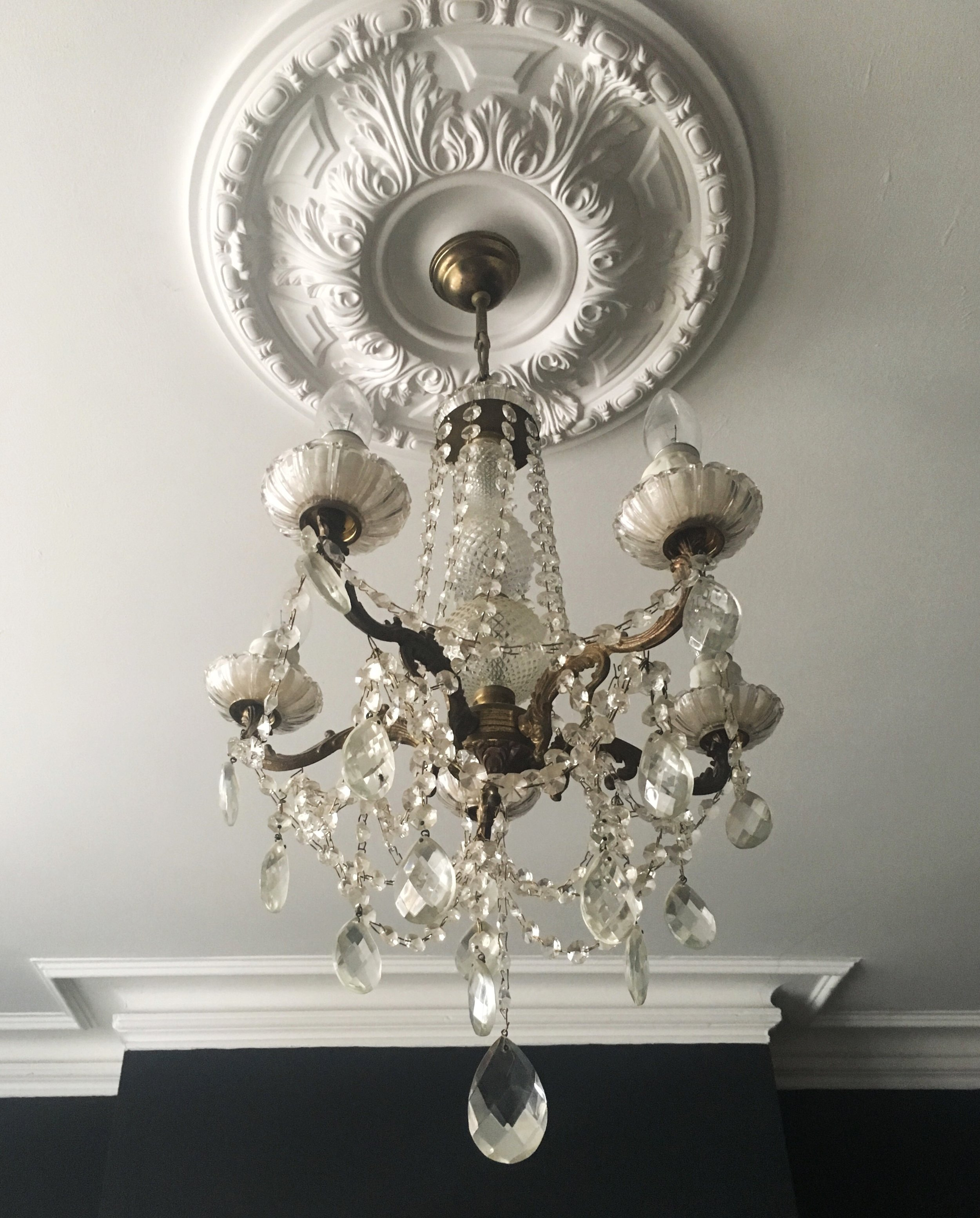 Victorian style ceiling Rose in our lounge, with original victorian coving.