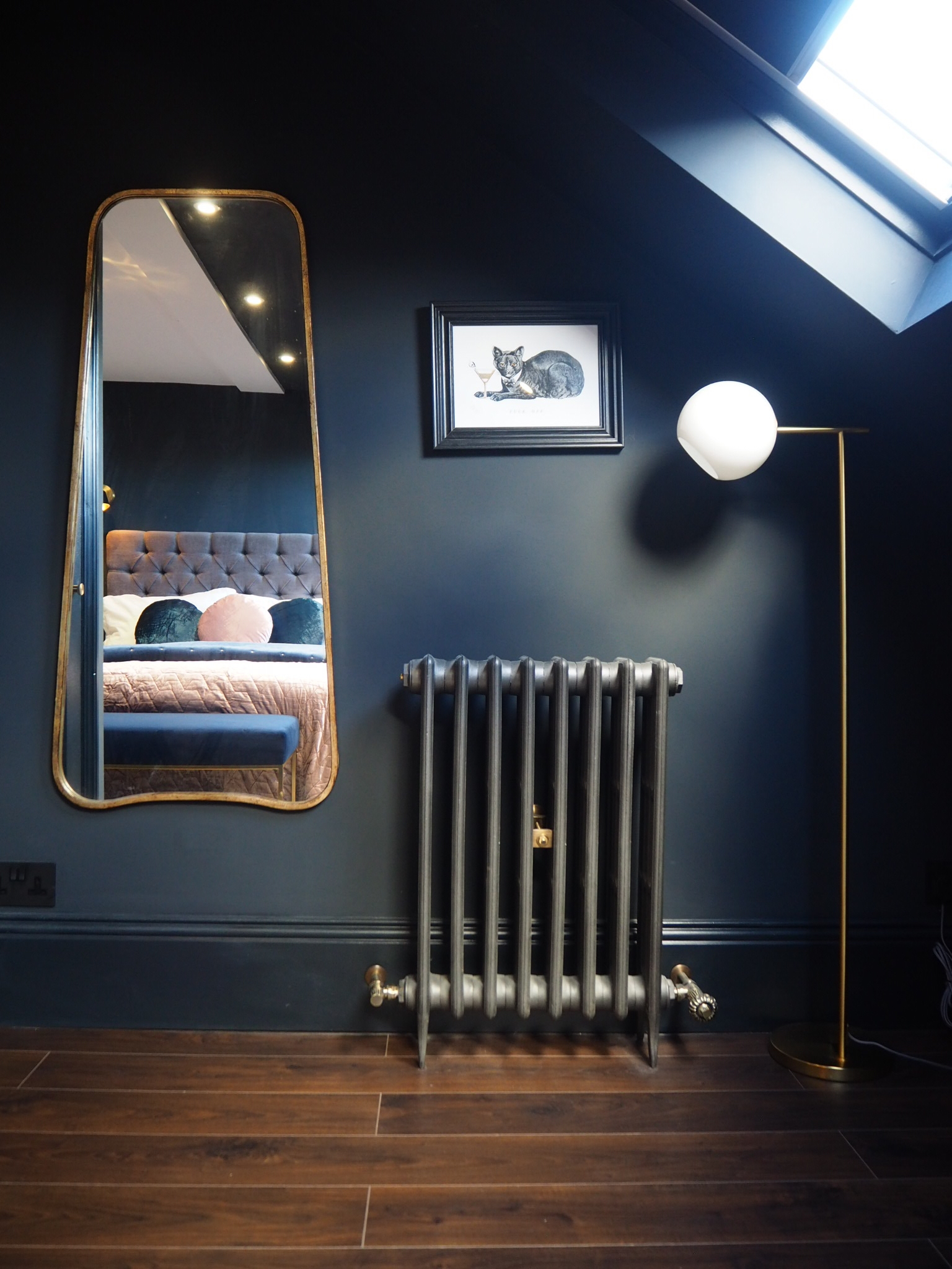 Curva mirror from   Select mirrors   £99, Cat limited edition print from   Divine Savages   £45, cast iron radiators from the   Cast iron radiator company   ,    Staggered floor lamp     £199, from West Elm.