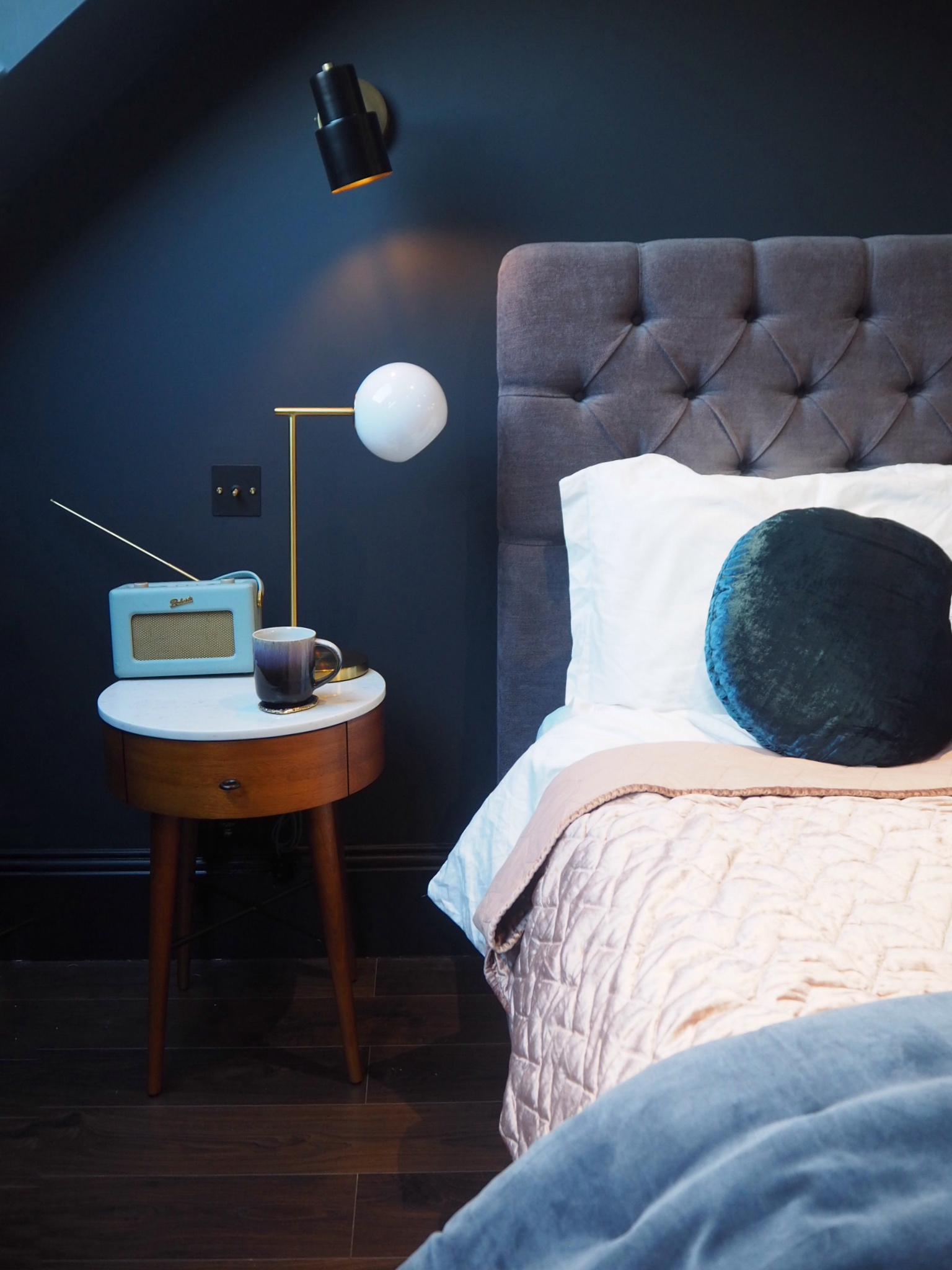 Penelope bedside tables   £349, West Elm,   Staggered glass table lamp   £99, West Elm.   Ombre Reactive glaze mug   £10 from West Elm,   Agate blue/ gold coasters   - pack of 4 £54