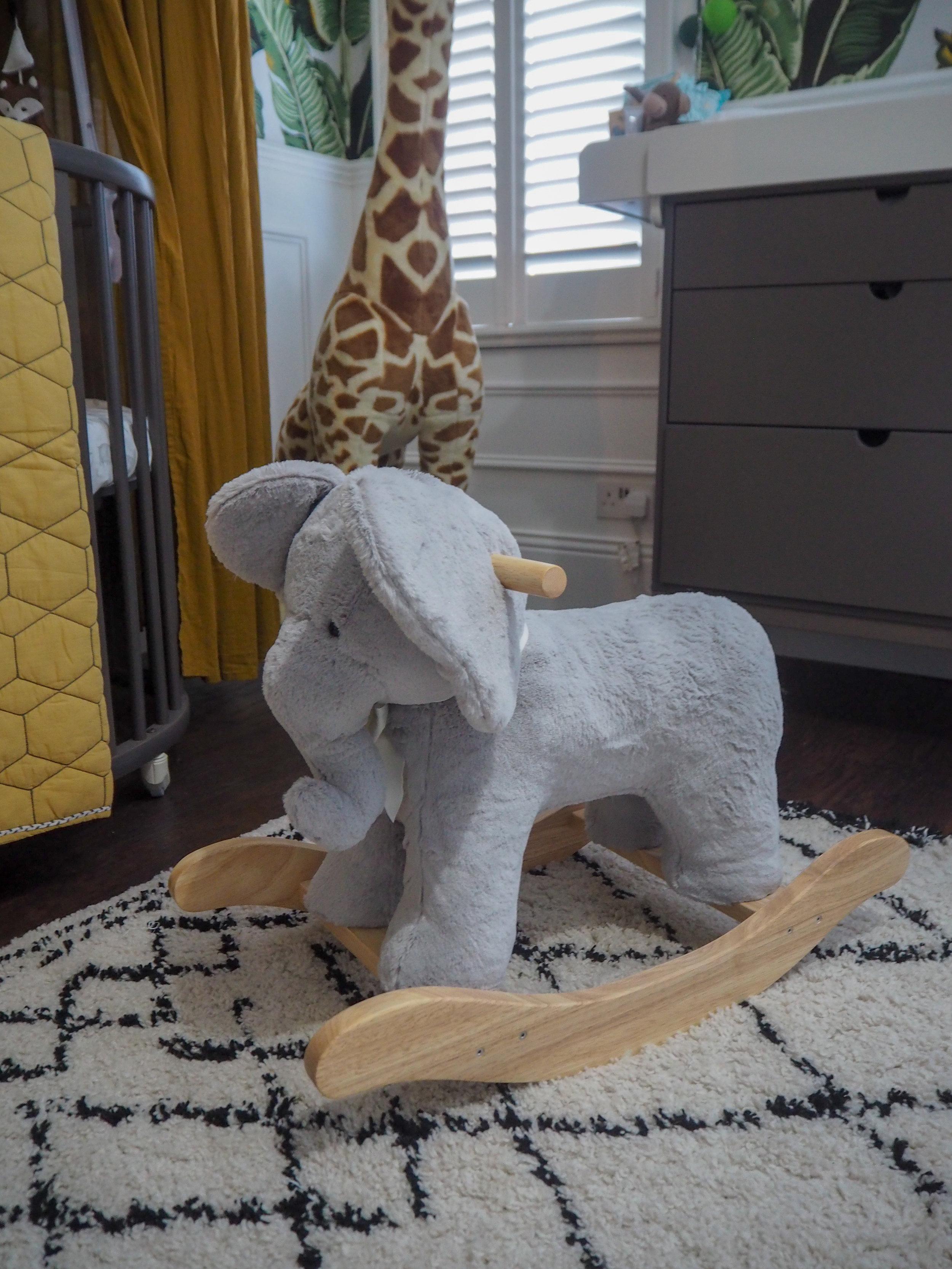 Elephant plush rocker   £149 from Pottery barn kids;   Afaw Berber Style Rug   from £269 La Redoute.
