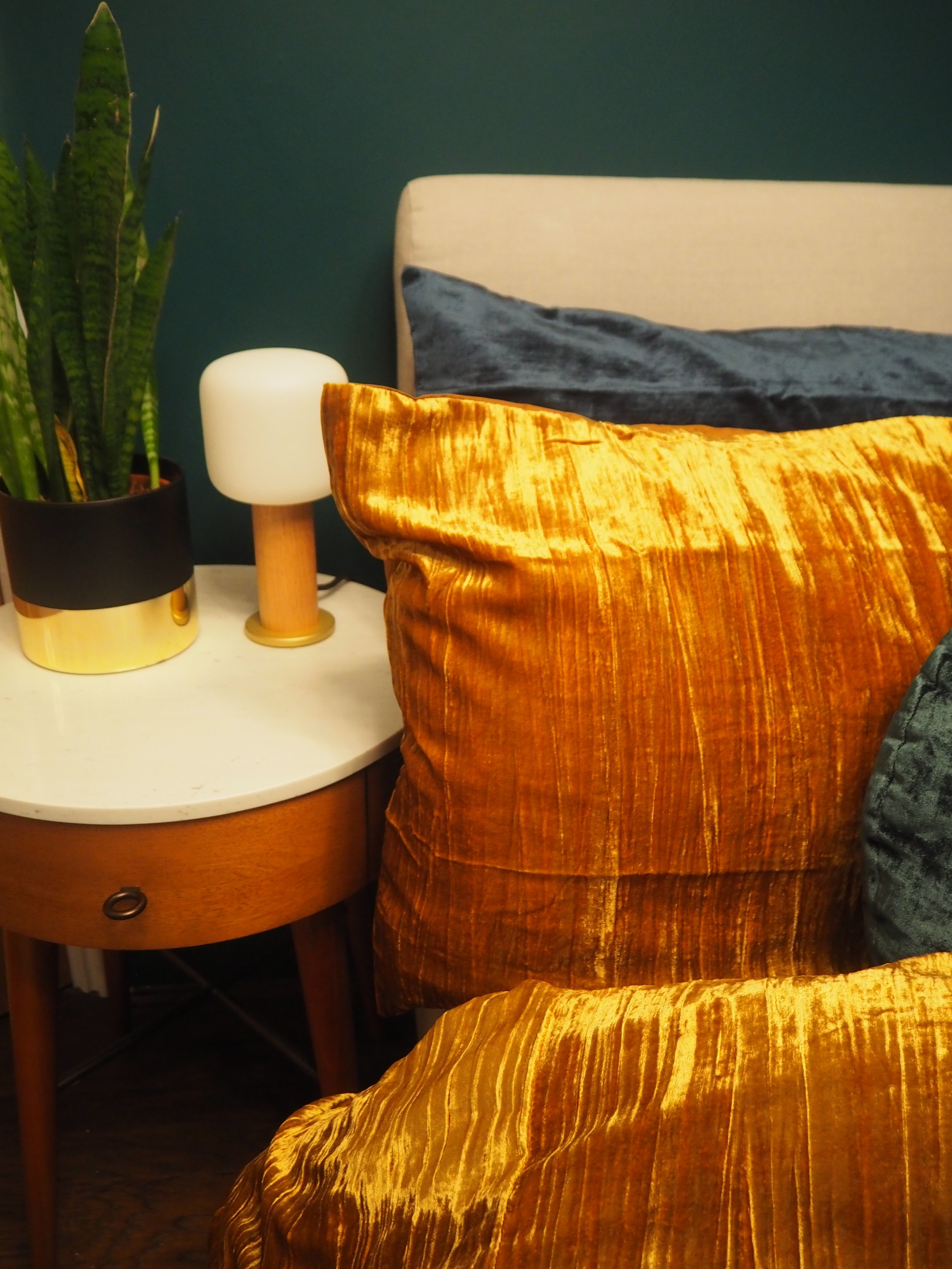 Crinkle Velvet Duvet Cover + Pillowcases   - Golden Oaks £149 from   West Elm   ;    Washed Cotton Lustre Velvet Duvet Cover + Pillowcases - Regal Blue   £149 from   West Elm   ;    Obla Oak touch lamp    £155  from     Tala   ,