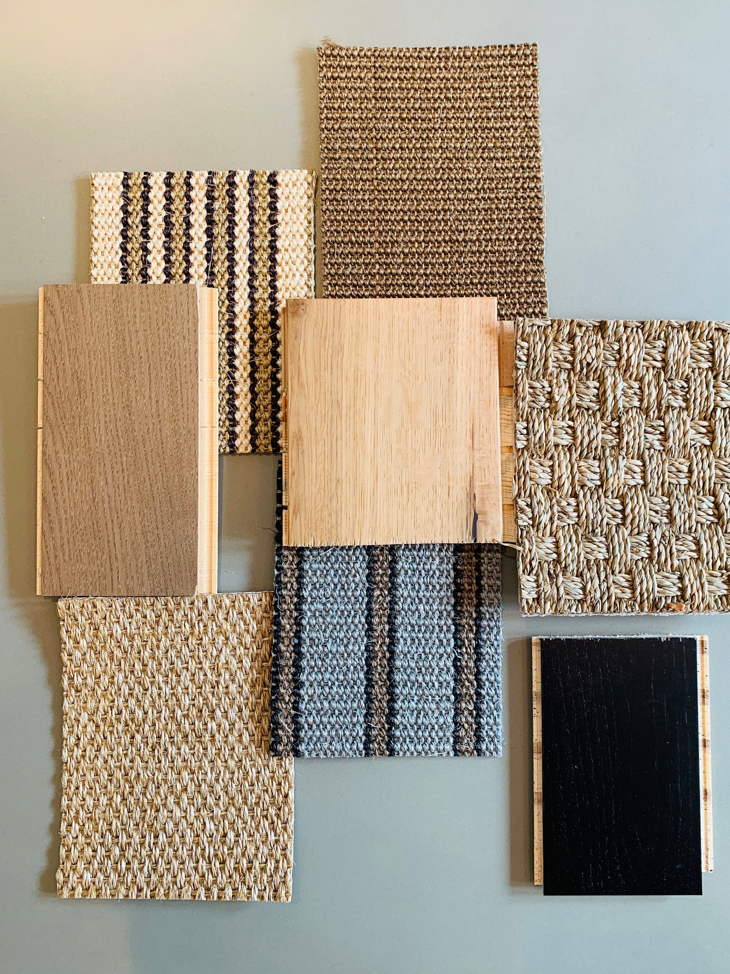 Kersaint Cobb   Floor Coverings - from Left to right; Providence Herringbone PC423, KC Sisal Panama, Morrocco Runner Colour Tetouan (stripe), KC Levana Herringbone, KC Morroco Runner Colour Oujda (Grey stripe), Top Middle- Boucle Artists in Colour Rembrandt 8043, Seagrass Basket Weave - Natural, (Bottom Right) KC Providence Herringbone in colour PC420.