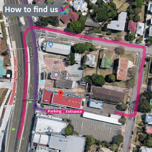 If you are travelling North we recommend using the back entrance to our carpark which is located on Emerald Street, as shown above with the pink line. If you are travelling South the purple line shows where our front carpark entrance is. Our practice is located upstairs with the entry location identified in the image above.